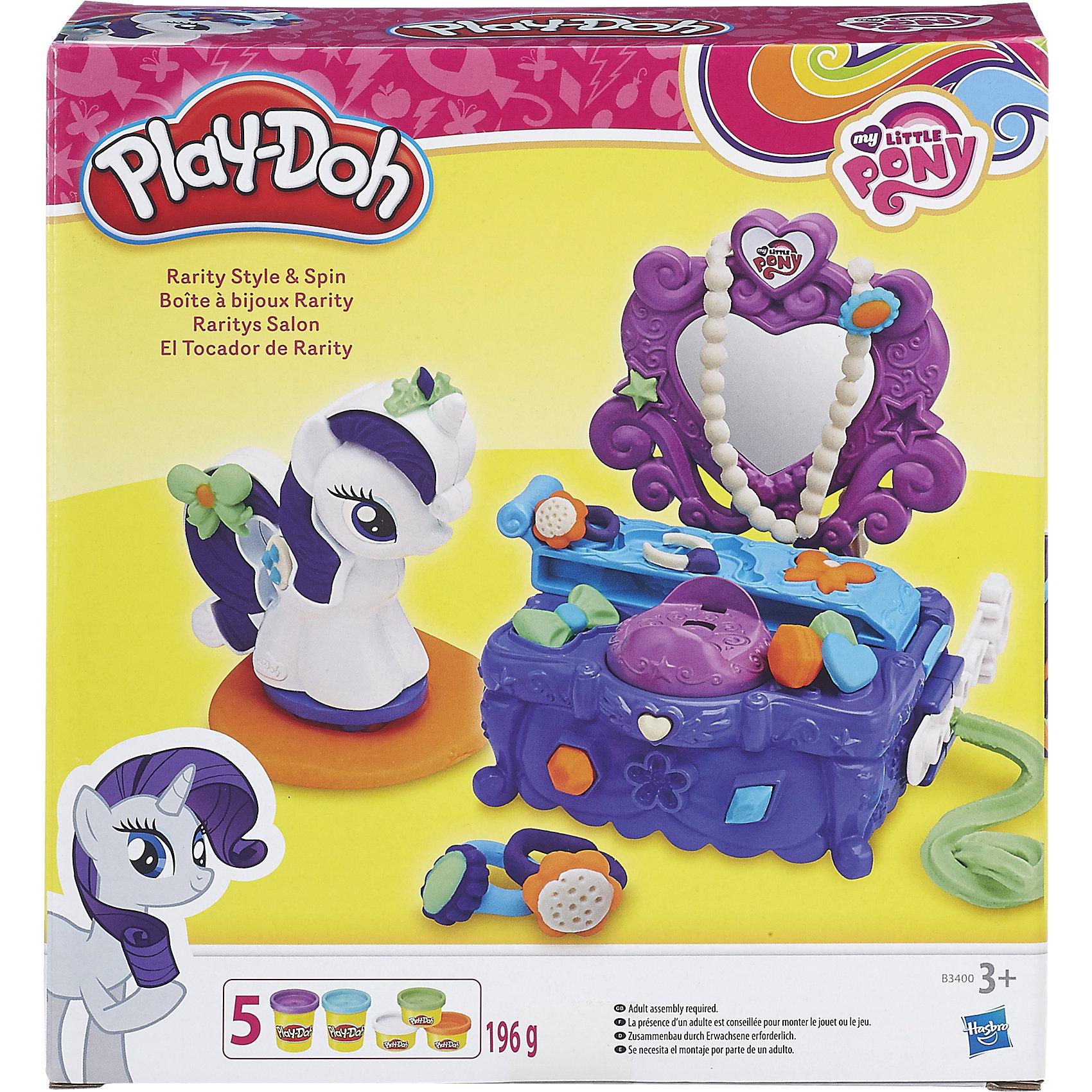 Игровой набор Туалетный столик Рарити, Play-DohИгрушки<br>Набор приведет в восторг всех юных поклонниц мультсериала Моя маленькая Пони. Создай свой уникальный туалетный столик для очаровательной малышки Рарити. <br>Пластилин Play-Doh - уникальный материал для детского творчества. Он не прилипает к рукам, окрашен безопасным красителем, быстро высыхает и не имеет запаха. Пластилин сделан на основе натуральных съедобных продуктов, поэтому даже если ребенок проглотит его, ничего страшного не случится. <br><br>Дополнительная информация:<br><br>- Материал: пластик, пластилин.<br>- Размер упаковки: 21х20х6 см.<br>- Комплектация: туалетный столик, стек, формочки, фигурка пони, 5 баночек play-doh.<br><br>Игровой набор Туалетный столик Рарити, Play-Doh (Плей До), можно купить в нашем магазине.<br><br>Ширина мм: 218<br>Глубина мм: 203<br>Высота мм: 60<br>Вес г: 504<br>Возраст от месяцев: 36<br>Возраст до месяцев: 72<br>Пол: Женский<br>Возраст: Детский<br>SKU: 4319033