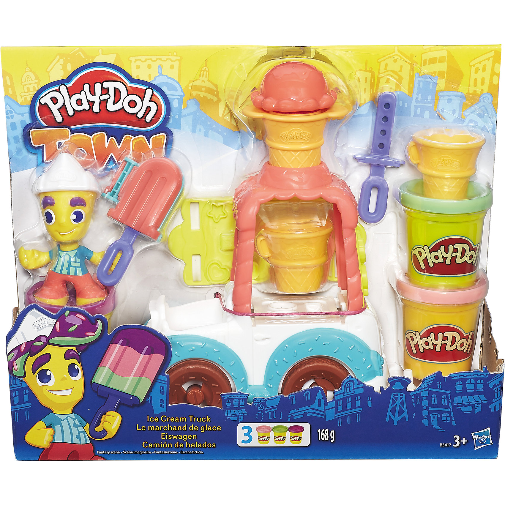 Игровой набор Грузовичок с мороженым, Play-Doh ГородНаборы для лепки<br>Игровой набор Грузовичок с мороженым, Play-Doh Город, непременно порадует всех маленьких любителей лепки и превратит творчество в веселую увлекательную игру. Яркая машинка развозит всем жителям города вкусное разноцветное мороженое. Машинкой управляет забавный человечек-мороженщик, который ловко приготовит всем лакомство на любой вкус. Грузовик и его отдельные детали можно использовать как формочки и дополнительными приспособлениями для лепки. Например, можно снять рожок с крыши грузовика, загрузить туда пластилин и выдавить - у Вас получится красивое мороженое или шапочка для человечка. С помощью пластилина Play-Doh ребенок может украсить грузовик и фигурку человечка, а также вылепить яркое мороженое - рожок или эскимо на палочке. Пластилин Play-Doh отличается высоким качеством, полностью безопасен для детей, не липнет к рукам и не пачкает одежду. Легко меняет форму и быстро высыхает.<br><br>Новая линейка Плей-До Город посвящена городской тематике и включает в себя наборы с фигурками человечков, зданий и городского транспорта. Наборы Город прекрасно дополняют друг друга, позволяя создавать свой собственный Play-Doh мир и устраивать увлекательные игры с друзьями. Занятия лепкой развивают у ребенка фантазию, творческие способности и объемное воображение, тренируют координацию движений и мелкую моторику.<br><br>Дополнительная информация:<br><br>- В комплекте: грузовик мороженщика, фигурка, аксессуары, 3 баночки пластилина Play-Doh.<br>- Материал: пластик, пластилин. <br>- Размер упаковки: 27,9 х 7,9 х 21,6 см.<br>- Вес: 168 гр.<br><br>Игровой набор Грузовичок с мороженым, Play-Doh (Плей-До) Город, можно купить в нашем интернет-магазине.<br><br>Ширина мм: 277<br>Глубина мм: 213<br>Высота мм: 81<br>Вес г: 538<br>Возраст от месяцев: 36<br>Возраст до месяцев: 72<br>Пол: Женский<br>Возраст: Детский<br>SKU: 4319035