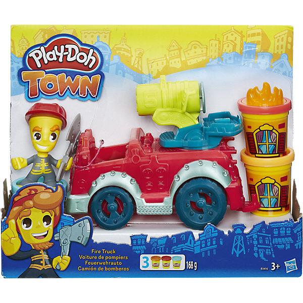 Игровой набор Пожарная машина, Город, Play-DohНаборы для лепки<br>Игровой набор Пожарная машина, Город, Play-Doh, непременно порадует всех маленьких любителей лепки. В городке Плей-До случился пожар! Скорее подготовь пожарную машину, наполни водомет и отправляйтесь вместе с отважным пожарником на помощь жителям. Вращая ручку водомета, можно устроить самый настоящий  Play-Doh душ! В руку пожарника вложите топор, чтобы прорубать проход в окна и двери зданий, а штамп огня разместите на крышке баночки, чтобы воссоздать реалистичную сцену пожара. Пожарную машину можно поставить в гараж Пожарной станции (набор продается отдельно). Пластилин Play-Doh отличается высоким качеством, полностью безопасен для детей, не липнет к рукам и не пачкает одежду. Легко меняет форму и быстро высыхает. <br><br>Новая линейка Плей-До Город посвящена городской тематике и включает в себя наборы с фигурками человечков, зданий и городского транспорта. Наборы Город прекрасно дополняют друг друга, позволяя создавать свой собственный Play-Doh мир и устраивать увлекательные игры с друзьями. Занятия лепкой развивают у ребенка фантазию, творческие способности и объемное воображение, тренируют координацию движений и мелкую моторику.<br><br>Дополнительная информация:<br><br>- В комплекте: фигурка пожарного, пожарная машина, аксессуары, 3 баночки пластилина Play-Doh.<br>- Материал: пластмасса, пластилин. <br>- Размер упаковки: 22 х 8 х 29 см.<br>- Вес: 0,635 кг.<br><br>Игровой набор Пожарная машина, Город, Play-Doh, можно купить в нашем интернет-магазине.<br>Ширина мм: 278; Глубина мм: 215; Высота мм: 83; Вес г: 526; Возраст от месяцев: 36; Возраст до месяцев: 72; Пол: Мужской; Возраст: Детский; SKU: 4319036;