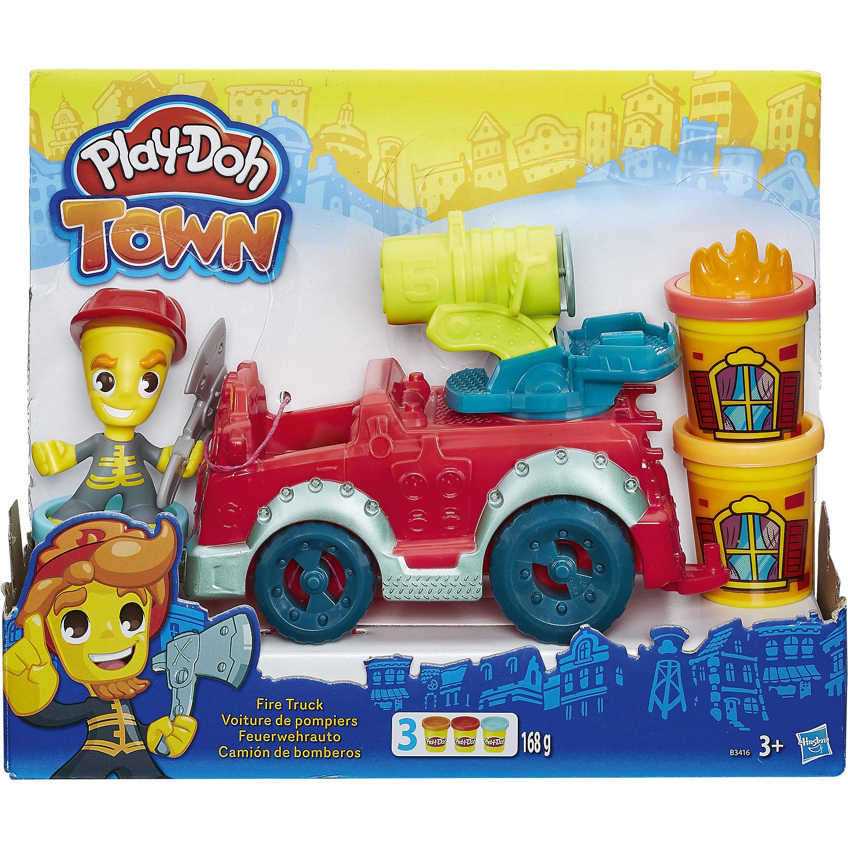 Игровой набор Пожарная машина, Город, Play-DohИгровой набор Пожарная машина, Город, Play-Doh, непременно порадует всех маленьких любителей лепки. В городке Плей-До случился пожар! Скорее подготовь пожарную машину, наполни водомет и отправляйтесь вместе с отважным пожарником на помощь жителям. Вращая ручку водомета, можно устроить самый настоящий  Play-Doh душ! В руку пожарника вложите топор, чтобы прорубать проход в окна и двери зданий, а штамп огня разместите на крышке баночки, чтобы воссоздать реалистичную сцену пожара. Пожарную машину можно поставить в гараж Пожарной станции (набор продается отдельно). Пластилин Play-Doh отличается высоким качеством, полностью безопасен для детей, не липнет к рукам и не пачкает одежду. Легко меняет форму и быстро высыхает. <br><br>Новая линейка Плей-До Город посвящена городской тематике и включает в себя наборы с фигурками человечков, зданий и городского транспорта. Наборы Город прекрасно дополняют друг друга, позволяя создавать свой собственный Play-Doh мир и устраивать увлекательные игры с друзьями. Занятия лепкой развивают у ребенка фантазию, творческие способности и объемное воображение, тренируют координацию движений и мелкую моторику.<br><br>Дополнительная информация:<br><br>- В комплекте: фигурка пожарного, пожарная машина, аксессуары, 3 баночки пластилина Play-Doh.<br>- Материал: пластмасса, пластилин. <br>- Размер упаковки: 22 х 8 х 29 см.<br>- Вес: 0,635 кг.<br><br>Игровой набор Пожарная машина, Город, Play-Doh, можно купить в нашем интернет-магазине.<br><br>Ширина мм: 278<br>Глубина мм: 215<br>Высота мм: 83<br>Вес г: 526<br>Возраст от месяцев: 36<br>Возраст до месяцев: 72<br>Пол: Мужской<br>Возраст: Детский<br>SKU: 4319036