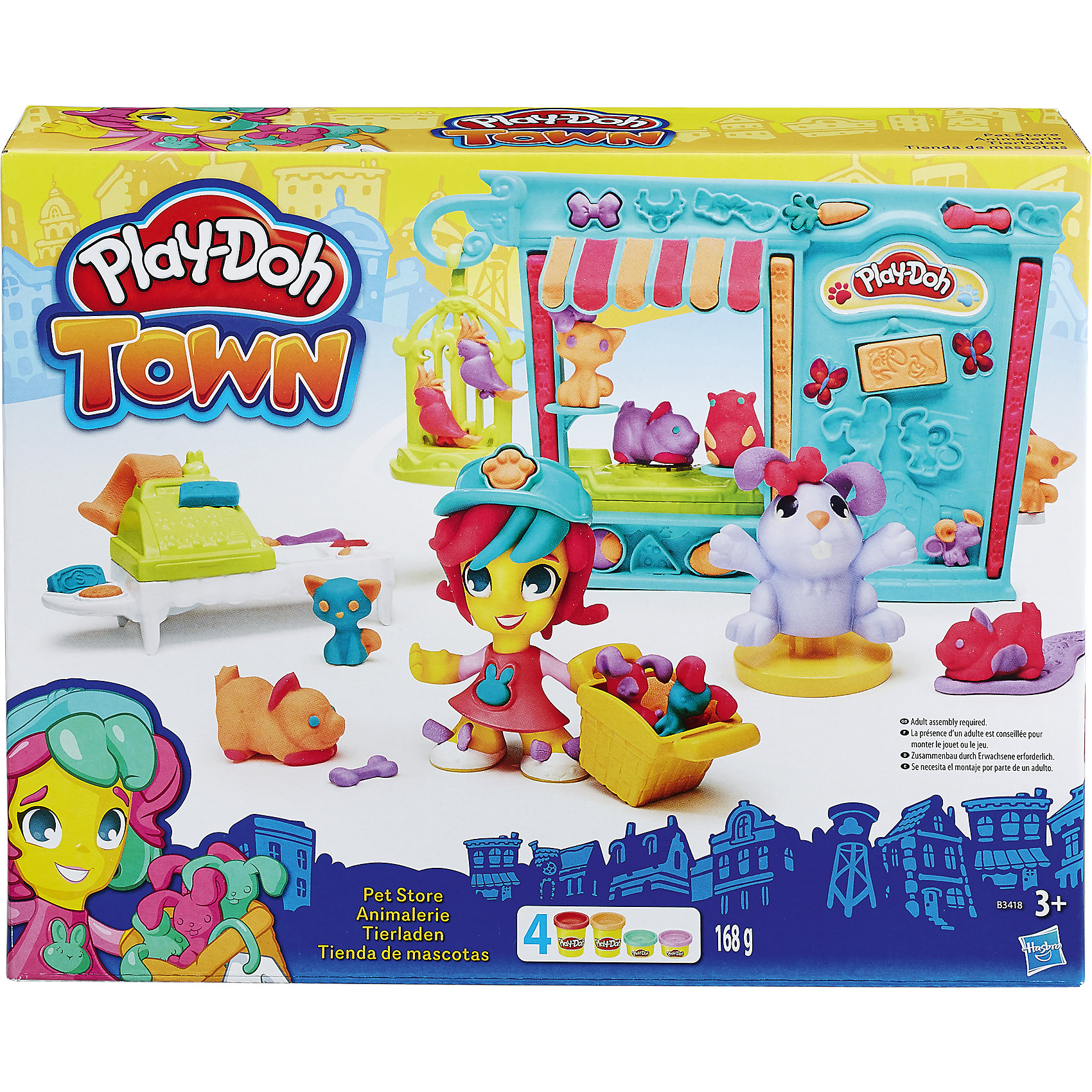 Игровой набор Магазинчик домашних питомцев, Play-Doh  ГородНовая линейка Play-Doh Город объединяет в себе традиционное твочество Play-Doh и наборы фигурок, зданий, транспорта городской тематики для коллекционирования. Всего в коллекции пять игровых наборов. Собери все наборы Города, чтобы создать свой собственный Play-Doh (Плэй-До) мир!<br><br>Ширина мм: 60<br>Глубина мм: 270<br>Высота мм: 216<br>Вес г: 500<br>Возраст от месяцев: 36<br>Возраст до месяцев: 72<br>Пол: Женский<br>Возраст: Детский<br>SKU: 4319037
