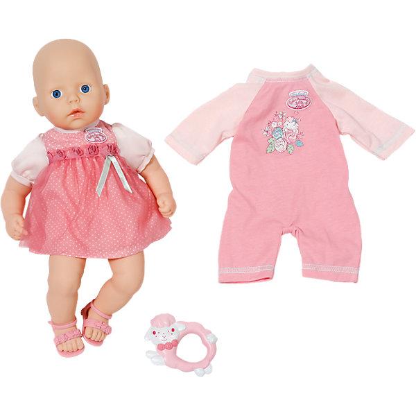 Кукла с дополнительным набором одежды, 36 см, my first Baby AnnabellКуклы<br>Характеристики:<br><br>• тип игрушки: кукла;<br>• возраст: от 1 года;<br>• размер игрушки: 36 см;<br>• размер: 23х17х30 см;<br>• цвет: розовый;<br>• вес: 875 гр;<br>• материал: винил, текстиль;<br>• комплектация:  кукла, комплект одежды, погремушка;<br>• бренд: Zapf Creation;<br>• страна производителя: Китай.<br><br>Кукла с дополнительным набором одежды, My first Baby Annabell 36 см  - ещё совсем маленькая, но уже настоящая модница, поэтому в ее гардеробе есть не только красивое платьице, но и комбинезон в любимых девочками розовых тонах. Хозяйка такой миловидной игрушки будет ей очень гордиться, а также с удовольствием позаботится о малышке и повеселит ее любимой погремушкой. В наборе представлена миловидная куколка, которая так похожа на настоящего младенца с выразительными голубыми глазками и пухлыми губками.<br><br>На малышке одет красивый розовый сарафанчик с декоративными розочками на грудке, дополненный такого же цвета открытыми сандаликами на ножках. Куколку можно переодеть, ведь в комплекте с ней предусмотрен дополнительный наряд в виде розового комбинезона с красивой аппликацией. Малышка никогда не расстаётся с любимой погремушкой овечкой, поэтому ее легко успокоить, вставив в ручку игрушки. Тело куклы – мягконабивное, поэтому его так приятно прижать к себе, а подвижные руки, ноги и голова выполнены из пластика высокого качества.<br><br>Куклу с дополнительным набором одежды, My first Baby Annabell 36 см можно купить в нашем интернет-магазине.<br>Ширина мм: 363; Глубина мм: 284; Высота мм: 144; Вес г: 750; Возраст от месяцев: 12; Возраст до месяцев: 36; Пол: Женский; Возраст: Детский; SKU: 4319340;