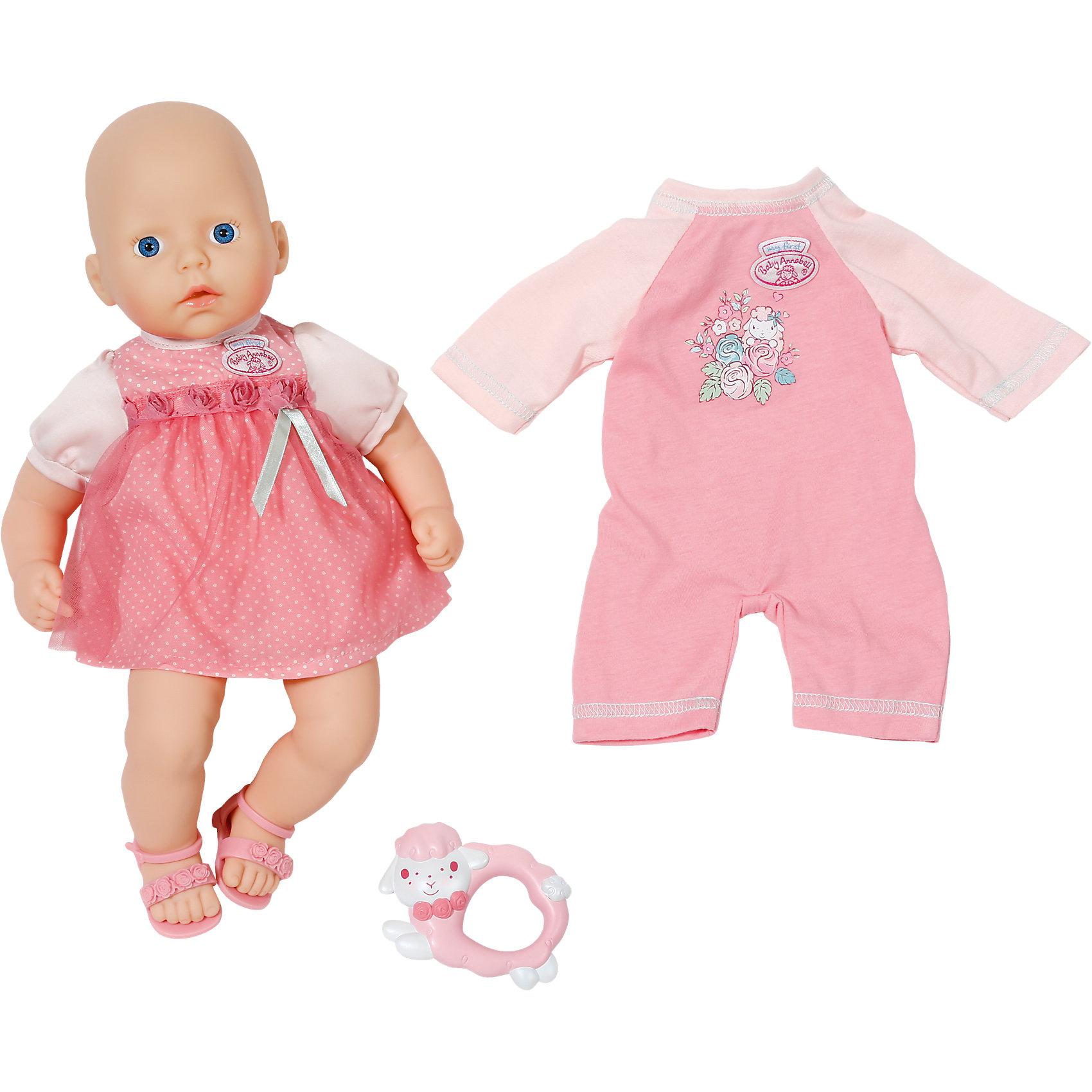 Кукла с дополнительным набором одежды, 36 см, my first Baby AnnabellДевочки придут в восторг от такой очаровательной куколки! Приветливое личико куклы и большие голубые глаза создают впечатление, что новорождённая малышка настоящая! Ручки и ножки пупса сделаны из мягкого, качественного пластика, повторяющего текстуру нежной кожи малыша. Малышка Анабель одета в милое розовое платьице, украшенное бантом, на ножках - розовые сандалии. <br><br>Дополнительная информация:<br><br>- Материал: пластик.<br>- Высота куклы: 36 см<br>- Кукла с мягконабивным телом.<br>- Комплектация: кукла в одежде, погремушка, дополнительный набор одежды ( розовый комбинезон)<br><br>Куклу с дополнительным набором одежды, 36 см, my first Baby Annabell (Беби Анабель), можно купить в нашем магазине.<br><br>Ширина мм: 364<br>Глубина мм: 286<br>Высота мм: 147<br>Вес г: 752<br>Возраст от месяцев: 12<br>Возраст до месяцев: 36<br>Пол: Женский<br>Возраст: Детский<br>SKU: 4319340