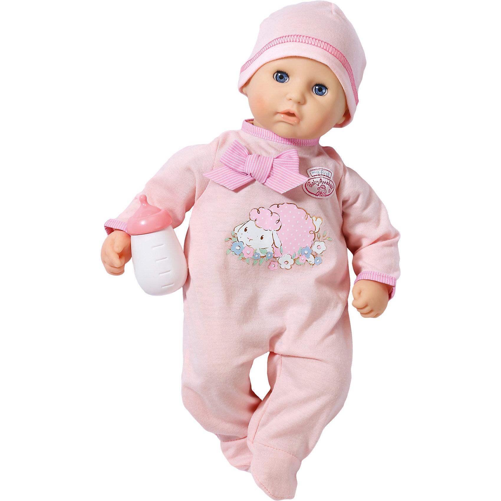 Кукла с бутылочкой, 36 см, my first Baby AnnabellБренды кукол<br>Кукла с бутылочкой, 36 см, my first Baby Annabell<br><br>Характеристики:<br><br>• В набор входит: кукла, одежда, бутылочка<br>• Состав: пластик, текстиль<br>• Высота куклы: 36 см.<br>• Размер упаковки: 31 * 16,5 * 20 см.<br>• Для детей в возрасте: от 1 года<br>• Страна производитель: Китай<br><br>Кукла с любопытством смотрит на мир своими голубыми глазками, её милый ротик приоткрыт от удивления. Моя первая Бэби Аннабель хочет изучать мир вместе со своей мамой и быть окружённой нежной заботой. Конечно же, в набор входит её бутылочка для кормления и первый наряд. <br><br>Розовый комбинезончик с овечкой и нежным бантиком выполнен в соответствии с технологией easy on+off, которая позволяет даже самым маленьким ручкам снимать и одевать комбинезончик. Маленькая «первая модель» куколки размером в 36 см. оснащена мягким телом и безопасна для малышей. Бутылочка изготовлена из безопасного пластика и не имеет острых краев.<br><br>Куклу с бутылочкой, 36 см, my first Baby Annabell можно купить в нашем интернет-магазине.<br><br>Ширина мм: 316<br>Глубина мм: 207<br>Высота мм: 171<br>Вес г: 546<br>Возраст от месяцев: 12<br>Возраст до месяцев: 36<br>Пол: Женский<br>Возраст: Детский<br>SKU: 4319341