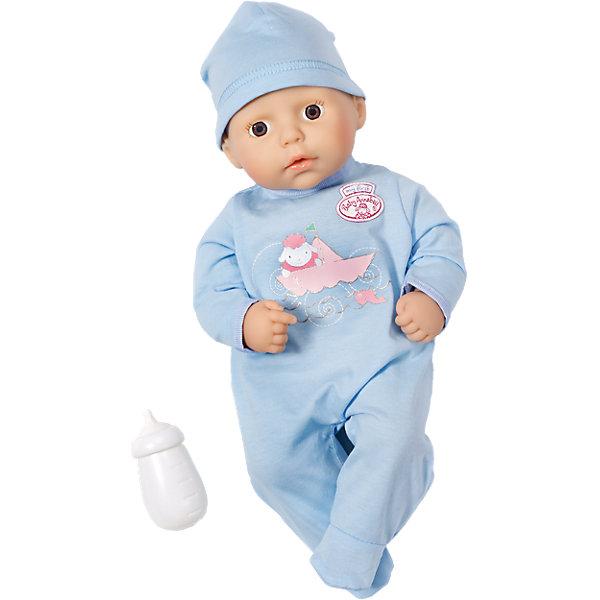 Кукла-мальчик с бутылочкой, 36 см, Baby AnnabellБренды кукол<br>Характеристики:<br><br>• тип игрушки: кукла;<br>• возраст: от 1 года;<br>• размер игрушки: 36 см;<br>• размер: 20х16х31 см;<br>• цвет: голубой;<br>• вес: 875 гр;<br>• материал: винил, текстиль;<br>• комплектация:  кукла, бутылочка;<br>• бренд: Zapf Creation;<br>• страна производителя: Китай.<br><br>Кукла-мальчик с бутылочкой, My first Baby Annabell 36 см  одета в голубой комбинезончик с изображением очаровательной овечки, а также шапочку в тон. В комплект также входит пластиковая бутылочка, с которой девочка сможет «кормить» малыша. Пупс Аннабель разработан по образу и подобию настоящего младенца. Мягкое тельце с подвижными ручками и ножкам приятно держать на руках. <br><br>Куклу-мальчика с бутылочкой, My first Baby Annabell 36 см можно купить в нашем интернет-магазине.<br>Ширина мм: 320; Глубина мм: 215; Высота мм: 170; Вес г: 559; Возраст от месяцев: 12; Возраст до месяцев: 36; Пол: Женский; Возраст: Детский; SKU: 4319342;