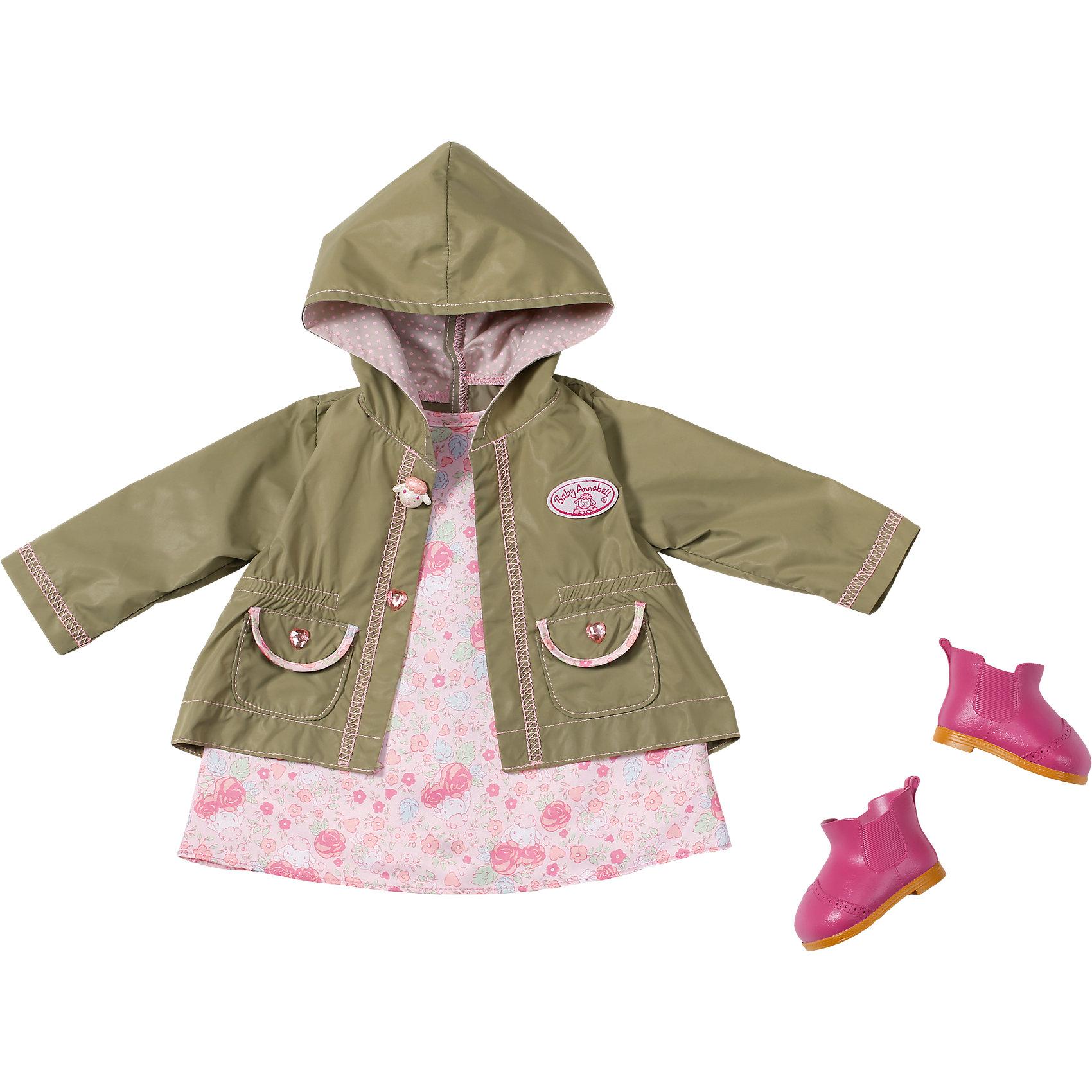 Одежда демисезонная, Baby AnnabellКукольная одежда и аксессуары<br>Прекрасная одежда для самой любимой куклы на свете! В комплект входит чудесное розовое платьице с нежным цветочным принтом, курточка с капюшоном на случай небольшого дождя и очаровательные резиновые сапожки малинового цвета. <br><br>Дополнительная информация:<br><br>- Материал: текстиль.<br>- Комплектация: платье, плащ, сапоги.<br>- Цвет: розовый, серо-зеленый. <br><br>Одежду демисезонную, Baby Annabell (Беби Анабель), можно купить в нашем магазине.<br><br>Ширина мм: 366<br>Глубина мм: 320<br>Высота мм: 83<br>Вес г: 420<br>Возраст от месяцев: 36<br>Возраст до месяцев: 60<br>Пол: Женский<br>Возраст: Детский<br>SKU: 4319346