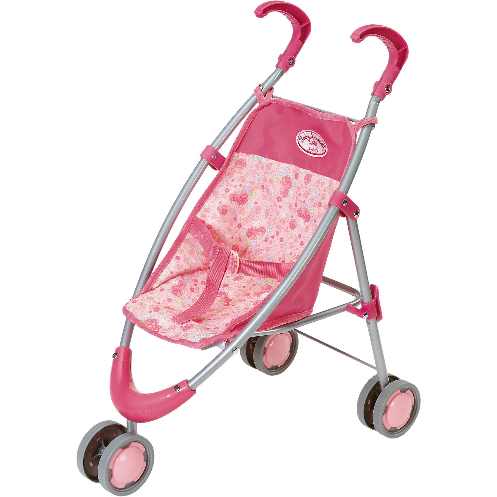 Коляска-тростьи, Baby AnnabellКоляски и транспорт для кукол<br>Эта яркая коляска выглядит как настоящая, с ней ваша девочка сможет гулять со своей малышкой Анабель где угодно. Каркас коляски выполнен из облегченного металла, ручки - из прочного пластика, двойные колеса обеспечивают высокую маневренность. Съемное тканевое сиденье можно постирать, ремни безопасности надежно зафиксируют куклу и не дадут ей упасть даже во время самых активных прогулок. Коляска легко и быстро складывается, занимает мало место при хранении и транспортировке. <br><br>Дополнительная информация:<br><br>- Материал: металл, пластик, текстиль.<br>- Размер: 65х36х14 см.<br>- Количество колес: 3 <br>- Съемное тканевой сиденье.<br>- Двойные колеса.<br>- Ремни безопасности.<br>- Коляска складывается.<br><br>Коляску-трость, Baby Annabell (Беби Анабель), можно купить в нашем магазине.<br><br>Ширина мм: 638<br>Глубина мм: 283<br>Высота мм: 107<br>Вес г: 773<br>Возраст от месяцев: 36<br>Возраст до месяцев: 60<br>Пол: Женский<br>Возраст: Детский<br>SKU: 4319351