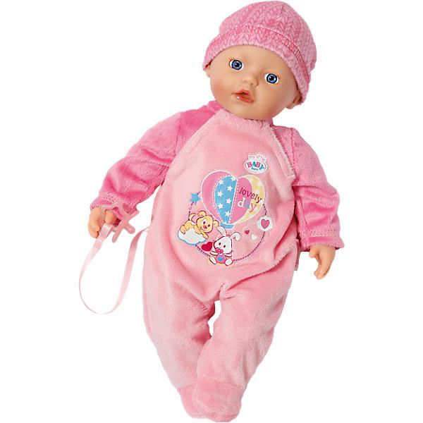 Кукла, 32 см, my little BABY bornБренды кукол<br>Характеристики:<br><br>• тип игрушки: кукла;<br>• возраст: от 3 лет;<br>• размер игрушки: 32 см;<br>• размер: 28х15х20 см;<br>• цвет: розовый;<br>• вес: 500 гр;<br>• материал: винил, текстиль;<br>• комплектация:  кукла, бутылочка;<br>• бренд: Zapf Creation;<br>• страна производителя: Китай.<br><br>Кукла, 32 см, My little BABY born напоминает миловидного малыша с выразительными голубыми глазками и пухлыми губками.  Также в комплекте есть соска для куклы, которую можно вставить в ротик игрушки.<br>Тело малыша наполнено специальными микрогранулами, благодаря которым куклу можно купать, и она очень быстро высохнет. Игрушка одета в яркий теплый костюмчик розового цвета с декоративной вышивкой в виде зайки и щенка, а на голове у нее – мягкая шапочка в тон наряда.<br>Девочкам понравится прижимать куклу к себе и разглядывать ее реалистичное личико, а также придумать для нее роль в интересном игровом сюжете. Игрушка изготовлена из высококачественных материалов, приятных на ощупь и гипоаллергенных.<br>Куклу, 32 см, My little BABY born можно купить в нашем интернет-магазине.<br>Ширина мм: 263; Глубина мм: 223; Высота мм: 170; Вес г: 463; Возраст от месяцев: 12; Возраст до месяцев: 36; Пол: Женский; Возраст: Детский; SKU: 4319353;