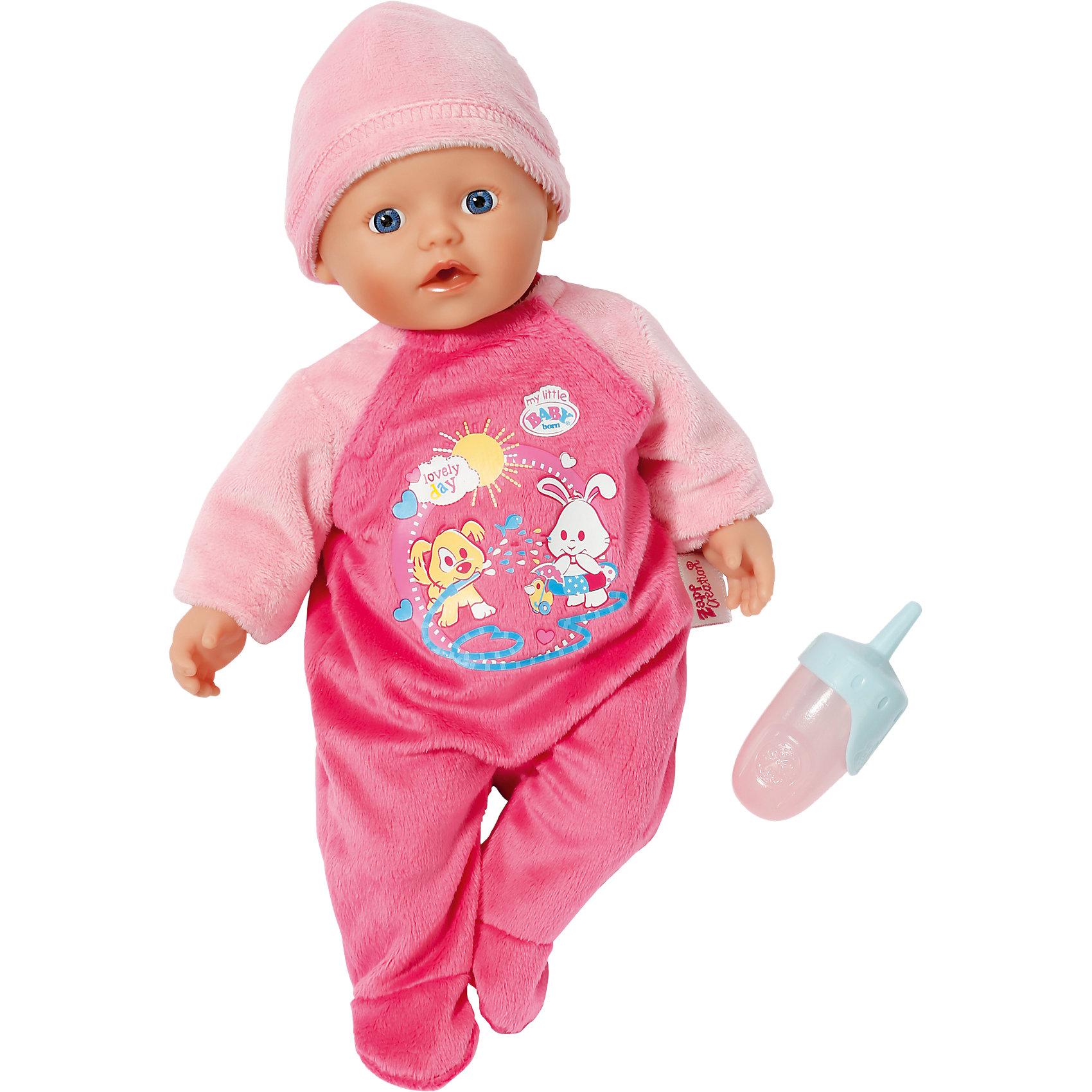 Кукла быстросохнущая, 32 см, my little BABY bornОчаровательный пупс станет прекрасным подарком для любой девочки. Эта куколка отличается от классических интерактивных кукол Бэби Борн – тельце пупса мягконабивное, из твердых материалов изготовлены только голова и конечности. Наполнитель мягкой части игрушки состоит из микрогранул, благодаря этому, куклу можно купать в воде – набивка очень быстро высыхает и с куклой снова можно играть. Очаровательны малыш с большими голубыми глазами, пухлыми губками и щечками так похож на настоящего младенца! Одет кроха в розовый бархатный комбинезончик и мягкую шапочку. <br><br>Дополнительная информация:<br><br>- Материал: пластик, текстиль, микрогранулы. <br>- Размер: 32 см.<br>- Тело мягконабивное, быстросохнущее.<br>- Можно купать.<br>- Комплектация: кукла в одежде, бутылочка. <br>- Поить куклу можно только из бутылочки. <br><br>Куклу быстросохнущую, 32 см, my little BABY born (Беби борн) можно купить в нашем магазине.<br><br>Ширина мм: 260<br>Глубина мм: 210<br>Высота мм: 155<br>Вес г: 450<br>Возраст от месяцев: 24<br>Возраст до месяцев: 48<br>Пол: Женский<br>Возраст: Детский<br>SKU: 4319354