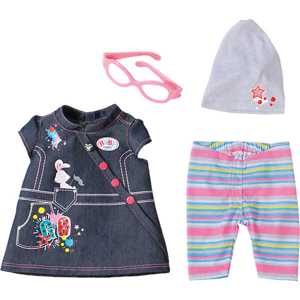 Одежда Джинсовая, BABY born, в ассортиментеБренды кукол<br>Набор стильной джинсовой одежды для куклы Бэби Борн - представлен в двух вариантах: для девочки и для мальчика. Первый вариант  включает джинсовый комбинезон с оригинальным принтом, серую трикотажную маечку, симпатичная шапочка в бело-розовую полоску, украшенная звёздочками и стильные очки в яркой голубой оправе. Второй комплект включает в себя джинсовый сарафанчик, леггинсы в полоску, серую шапочка и очки с розовой оправой. <br><br>Дополнительная информация:<br><br>- Материал: текстиль, пластик. <br>- Цвет: синий (джинс), серый, розовый, голубой. <br>- 2 варианта в ассортименте.<br>ВНИМАНИЕ! Данный артикул представлен в разных вариантах исполнения. К сожалению, заранее выбрать определенный вариант невозможно. При заказе нескольких наборов одежды возможно получение одинаковых.<br><br>Джинсовую одежду, BABY born (Беби борн), в ассортименте, можно купить в нашем магазине.<br>Ширина мм: 364; Глубина мм: 281; Высота мм: 83; Вес г: 285; Возраст от месяцев: 36; Возраст до месяцев: 60; Пол: Женский; Возраст: Детский; SKU: 4319361;