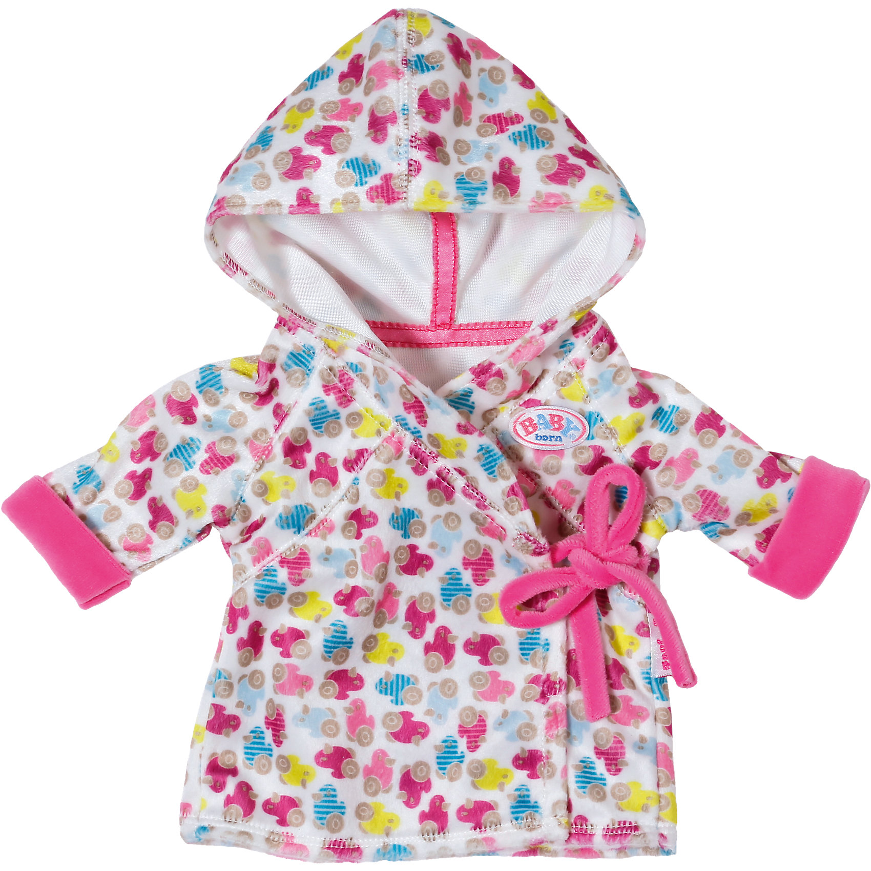 Халат с капюшоном, BABY bornУютный тёплый халатик с капюшоном Бэби Борн, который можно одеть на куклу после купания. Халатик украшен принтом в виде разноцветных утят, имеет удобные завязки. Материал очень мягкий и приятный на ощупь.<br><br>Ширина мм: 281<br>Глубина мм: 246<br>Высота мм: 32<br>Вес г: 101<br>Возраст от месяцев: 36<br>Возраст до месяцев: 60<br>Пол: Женский<br>Возраст: Детский<br>SKU: 4319375