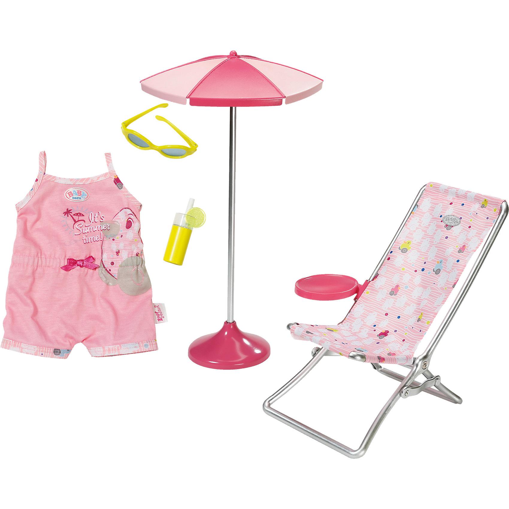 Набор Солнечные ванны, BABY bornТематический игровой набор «Солнечные ванны». Все игровые аксессуары и принадлежности изготовлены из материалов высокого качества (пластик, металл и текстиль), безопасных для здоровья.<br><br>В комплекте набора:<br><br>одежда для куклы 43 см;<br>шезлонг;<br>солнечный зонт;<br>солнечные очки;<br>стакан лимонада.<br><br>Ширина мм: 416<br>Глубина мм: 250<br>Высота мм: 94<br>Вес г: 612<br>Возраст от месяцев: 36<br>Возраст до месяцев: 60<br>Пол: Женский<br>Возраст: Детский<br>SKU: 4319378