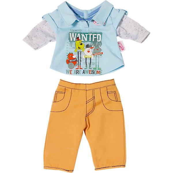 Одежда стильная для мальчика, оранжевые штаны, BABY bornОдежда для кукол<br>Характеристики товара:<br><br>• возраст от 3 лет;<br>• материал: текстиль;<br>• в комплекте: кофта, штаны; <br>• размер упаковки 19х15х4 см;<br>• страна производитель: Китай.<br><br>Одежда стильная для мальчика Baby Born дополнит гардероб пупса Baby Born от Zapf Creation. Комплект состоит из оранжевых брюк и голубой футболки с рисунками. Одежда выполнена из качественных материалов. <br><br>Одежду стильную для мальчика Baby Born можно приобрести в нашем интернет-магазине.<br>Ширина мм: 431; Глубина мм: 200; Высота мм: 40; Вес г: 140; Возраст от месяцев: 36; Возраст до месяцев: 60; Пол: Женский; Возраст: Детский; SKU: 4319382;
