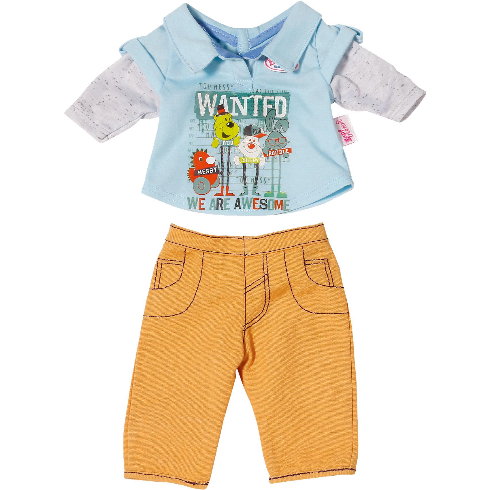 Одежда стильная для мальчика, оранжевые штаны, BABY bornКукольная одежда и аксессуары<br>Характеристики товара:<br><br>• возраст от 3 лет;<br>• материал: текстиль;<br>• в комплекте: кофта, штаны; <br>• размер упаковки 19х15х4 см;<br>• страна производитель: Китай.<br><br>Одежда стильная для мальчика Baby Born дополнит гардероб пупса Baby Born от Zapf Creation. Комплект состоит из оранжевых брюк и голубой футболки с рисунками. Одежда выполнена из качественных материалов. <br><br>Одежду стильную для мальчика Baby Born можно приобрести в нашем интернет-магазине.<br><br>Ширина мм: 193<br>Глубина мм: 53<br>Высота мм: 50<br>Вес г: 124<br>Возраст от месяцев: 36<br>Возраст до месяцев: 60<br>Пол: Женский<br>Возраст: Детский<br>SKU: 4319382