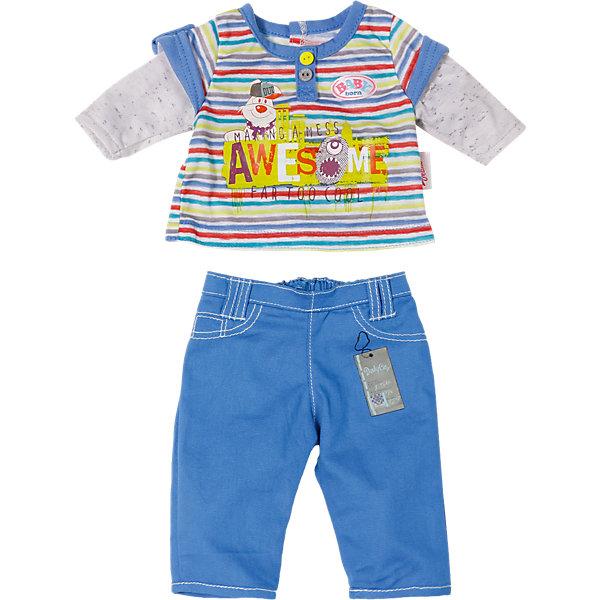Одежда стильная для мальчика, синие штаны, BABY bornОдежда для кукол<br>Характеристики товара:<br><br>• возраст от 3 лет;<br>• материал: текстиль;<br>• в комплекте: кофта, штаны; <br>• размер упаковки 19х15х4 см;<br>• страна производитель: Китай.<br><br>Одежда стильная для мальчика Baby Born дополнит гардероб пупса Baby Born от Zapf Creation. Комплект состоит из синих брюк и голубой футболки с рисунками. Одежда выполнена из качественных материалов. <br><br>Одежду стильную для мальчика Baby Born можно приобрести в нашем интернет-магазине.<br>Ширина мм: 411; Глубина мм: 215; Высота мм: 27; Вес г: 125; Возраст от месяцев: 36; Возраст до месяцев: 60; Пол: Женский; Возраст: Детский; SKU: 4319383;