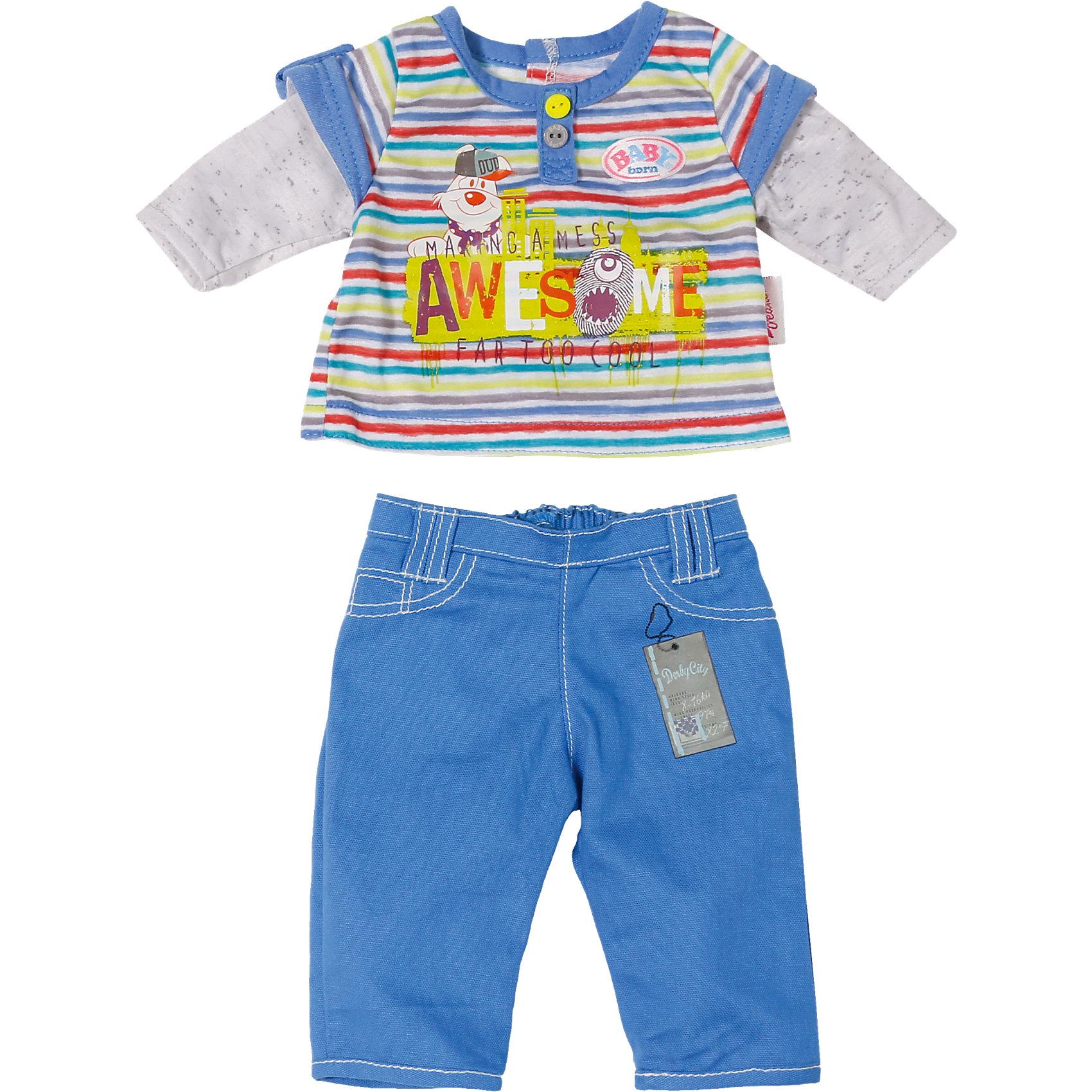 Одежда стильная для мальчика, синие штаны, BABY bornКукольная одежда и аксессуары<br>Характеристики товара:<br><br>• возраст от 3 лет;<br>• материал: текстиль;<br>• в комплекте: кофта, штаны; <br>• размер упаковки 19х15х4 см;<br>• страна производитель: Китай.<br><br>Одежда стильная для мальчика Baby Born дополнит гардероб пупса Baby Born от Zapf Creation. Комплект состоит из синих брюк и голубой футболки с рисунками. Одежда выполнена из качественных материалов. <br><br>Одежду стильную для мальчика Baby Born можно приобрести в нашем интернет-магазине.<br><br>Ширина мм: 405<br>Глубина мм: 195<br>Высота мм: 41<br>Вес г: 131<br>Возраст от месяцев: 36<br>Возраст до месяцев: 60<br>Пол: Женский<br>Возраст: Детский<br>SKU: 4319383