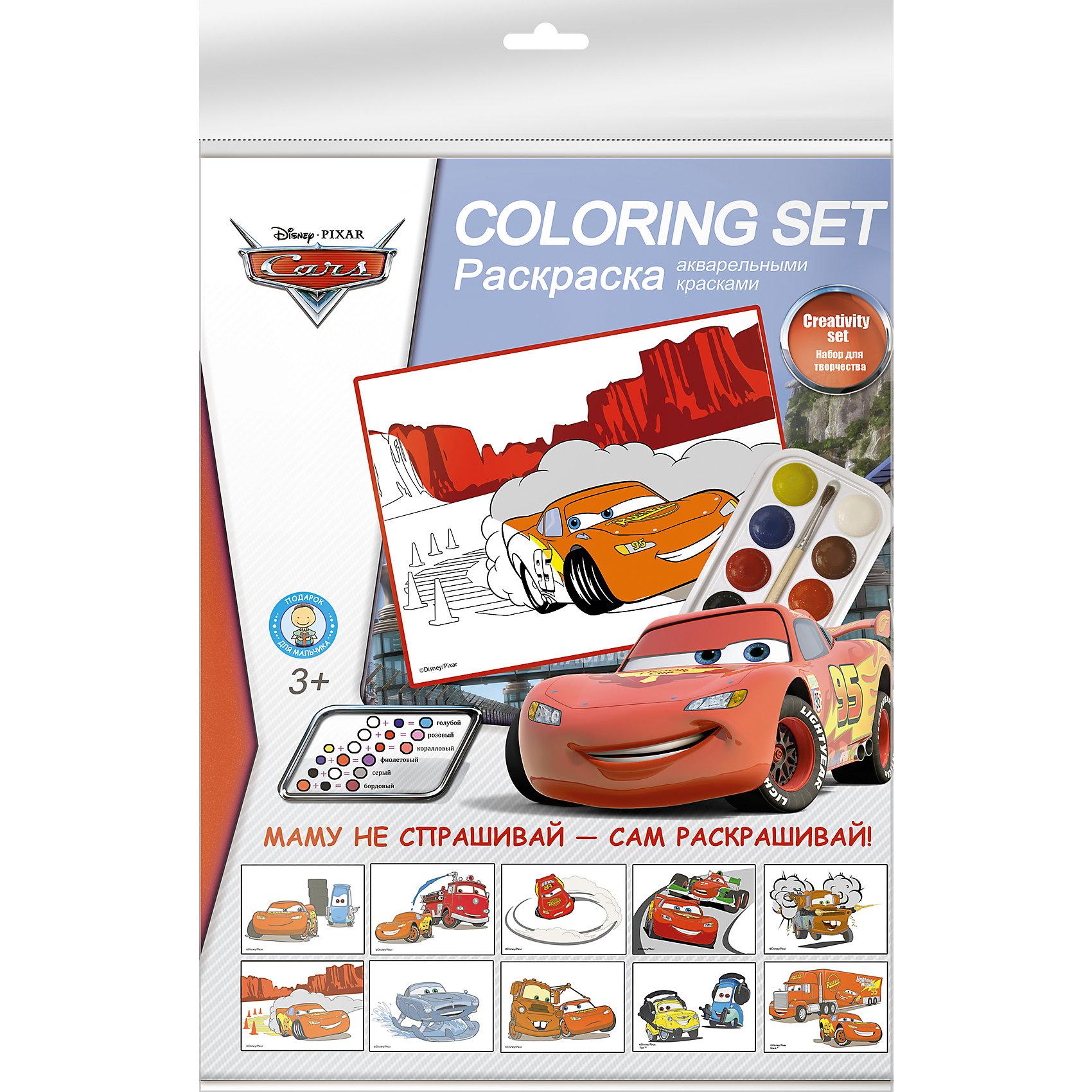 Акварельные раскраски ТачкиВ этом красочном наборе есть все, чтобы организовать досуг ребенка. Дети обожают раскраски, а рисовать с любимыми героями - приятно вдвойне! <br><br>Дополнительная информация:<br><br>- Материал: пластик, бумага, краски.<br>- Комплектация: краски (8 цветов), кисть, 10 раскрасок. <br>- Размер упаковки: 20х30 см.<br><br>Набор для детского творчества Тачки (Cars) можно купить в нашем магазине.<br><br>Ширина мм: 12<br>Глубина мм: 197<br>Высота мм: 302<br>Вес г: 100<br>Возраст от месяцев: 48<br>Возраст до месяцев: 84<br>Пол: Мужской<br>Возраст: Детский<br>SKU: 4319917