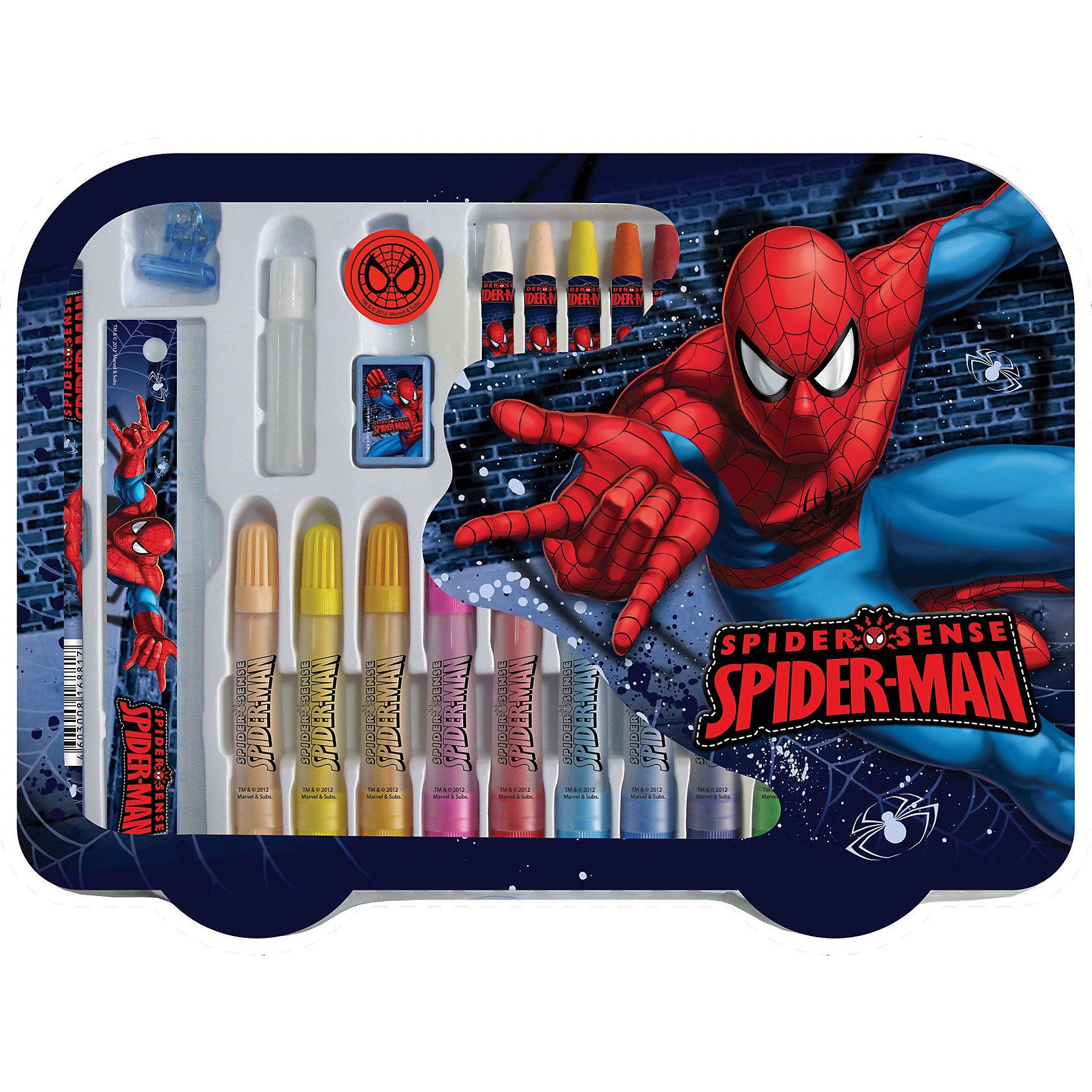 Набор для творчества Человек-Паук (30 предметов)Этот замечательны подарочный набор придется по вкусу всем поклонникам Spider-man. В нем есть все для полноценного творческого процесса, в результате которого ваша ребенок сможет развить моторику рук, цветовосприятие, воображение и творческие способности. <br><br>Дополнительная информация:<br><br>- Материал: дерево, пластик, воск, бумага, картон.<br>- Комплектация: простой карандаш (1шт), линейка 15см (1шт), зажим (1шт), клей (1шт), ластик (1шт), точилка (1шт), пастельные мелки (12шт), фломастеры (12шт). <br>- Размер упаковки: 25 х 33  см. <br><br>Набор для творчества Человек-Паук (30 предметов) можно купить в нашем магазине.<br><br>Ширина мм: 330<br>Глубина мм: 250<br>Высота мм: 25<br>Вес г: 439<br>Возраст от месяцев: 48<br>Возраст до месяцев: 84<br>Пол: Мужской<br>Возраст: Детский<br>SKU: 4319928