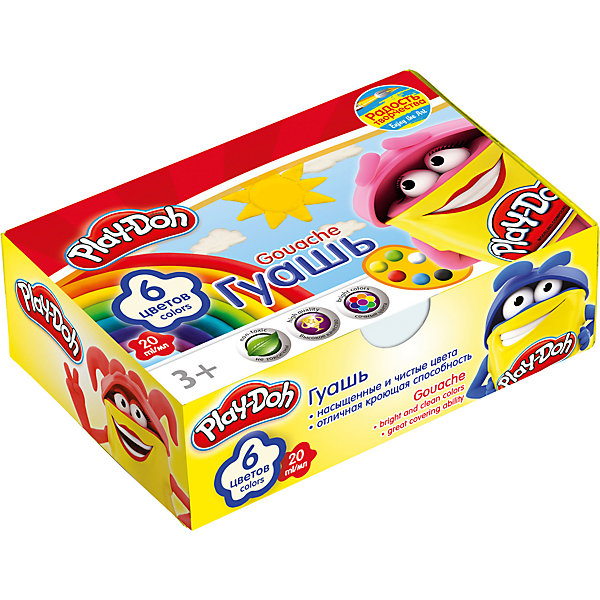 Гуашевые краски Play Doh, 6 цветов по 20 млPlay-Doh<br>Гуашь, упакованная в яркую коробочку - прекрасный вариант для детского творчества в школе, детском саду или дома. Позвольте вашему ребенку воплощать свои фантазии на бумаге, развивать воображение и образное мышление. <br><br>Дополнительная информация:<br><br>- Материал: краски, пластик, картон.  <br>- Размер упаковки: 8х4х14 см.<br>- Количество цветов: 6 <br>- Объем баночки с краской: 20 мл.<br><br>Гуашевые краски Play Doh (Плей До), 6 цветов по 20 мл, можно купить в нашем магазине.<br><br>Ширина мм: 80<br>Глубина мм: 120<br>Высота мм: 38<br>Вес г: 139<br>Возраст от месяцев: 48<br>Возраст до месяцев: 84<br>Пол: Унисекс<br>Возраст: Детский<br>SKU: 4319948