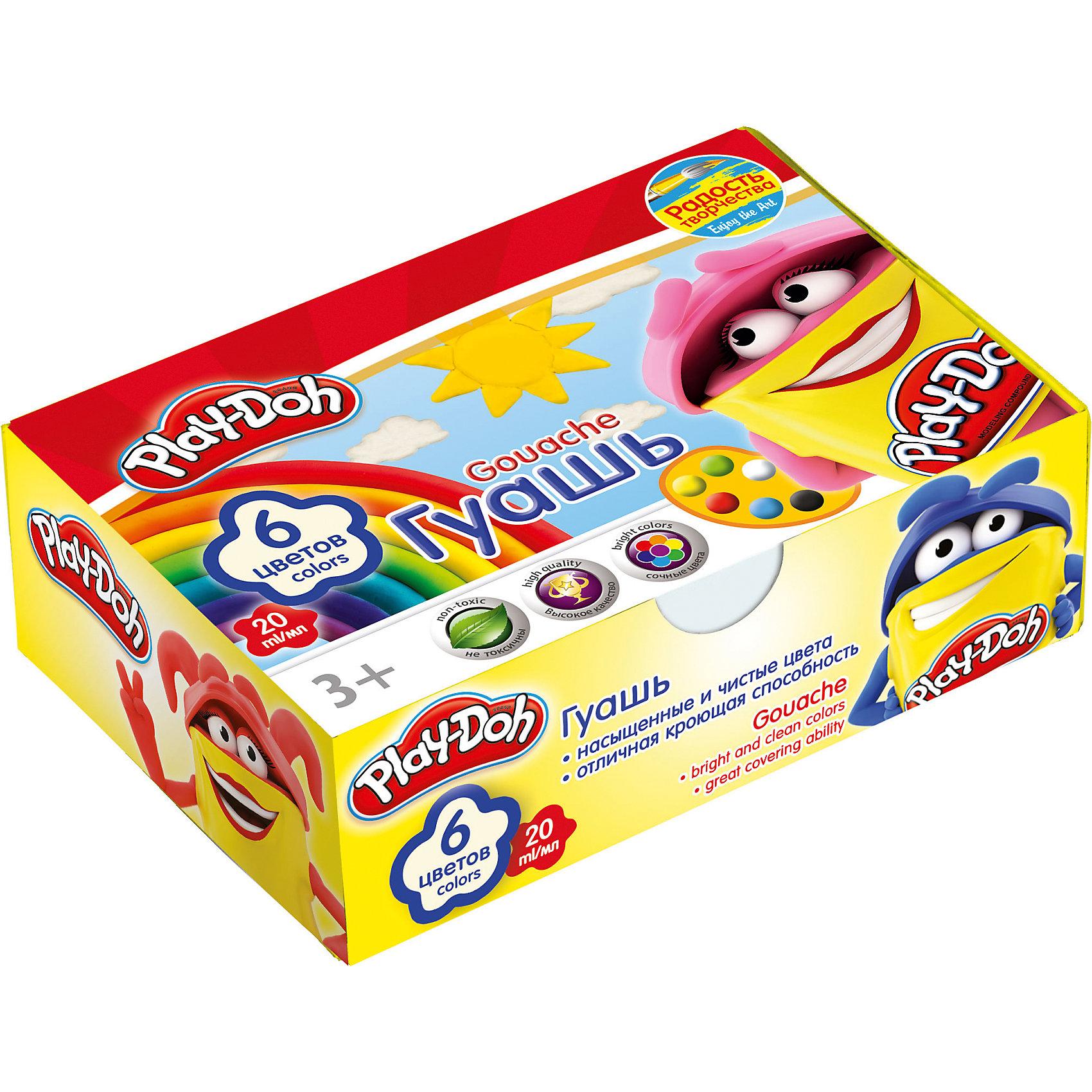 Академия групп Гуашевые краски Play Doh, 6 цветов по 20 мл hasbro play doh игровой набор из 3 цветов цвета в ассортименте с 2 лет
