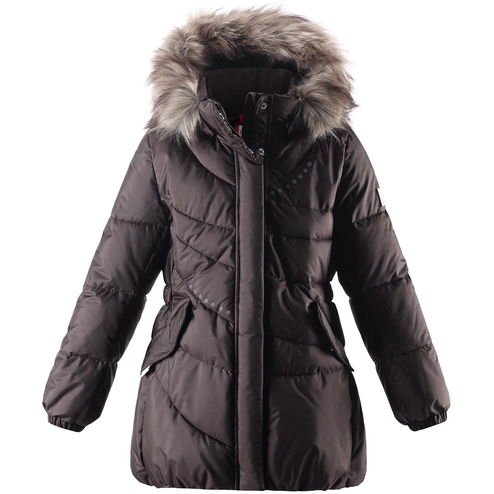 Пальто для девочки ReimaВ морозные зимние дни без пуха не обойтись! Этот красивый пуховик для девочек имеет слегка удлинённый покрой и капюшон, украшенный стильным отстёгивающимся искусственным мехом. Пуховик пошит из ветронепроницаемого дышащего материала, который отталкивает воду и грязь, чтобы обеспечить тепло и комфорт в морозные зимние дни. Гладкая подкладка из полиэстера облегчает процесс одевания и удобно носится с тёплыми промежуточными слоями. Эта элегантная модель украшена эластичным кантом сзади на талии и стильной асимметричной строчкой, а декоративные отражающие детали придают изюминку этому зимнему пуховику. Съёмный и регулируемый капюшон не только защищает от холодного ветра, но и безопасен во время игр на свежем воздухе. Если закреплённый кнопками капюшон зацепится за что-нибудь, он легко отстегнётся.<br><br>Дополнительная информация:<br><br>Средняя степень утепления: до -20<br>Тёплое водоотталкивающее пальто для девочки-подростка<br>Безопасный съёмный капюшон с отстёгивающейся отделкой из искусственного меха<br>Эластичный кант сзади на талии<br>Два боковых кармана с клапанами<br><br>Пальто  для девочки Reima (Рейма можно купить в нашем магазине.<br><br>Ширина мм: 356<br>Глубина мм: 10<br>Высота мм: 245<br>Вес г: 519<br>Цвет: коричневый<br>Возраст от месяцев: 48<br>Возраст до месяцев: 60<br>Пол: Женский<br>Возраст: Детский<br>Размер: 110,104,134,128,122,116<br>SKU: 4320098