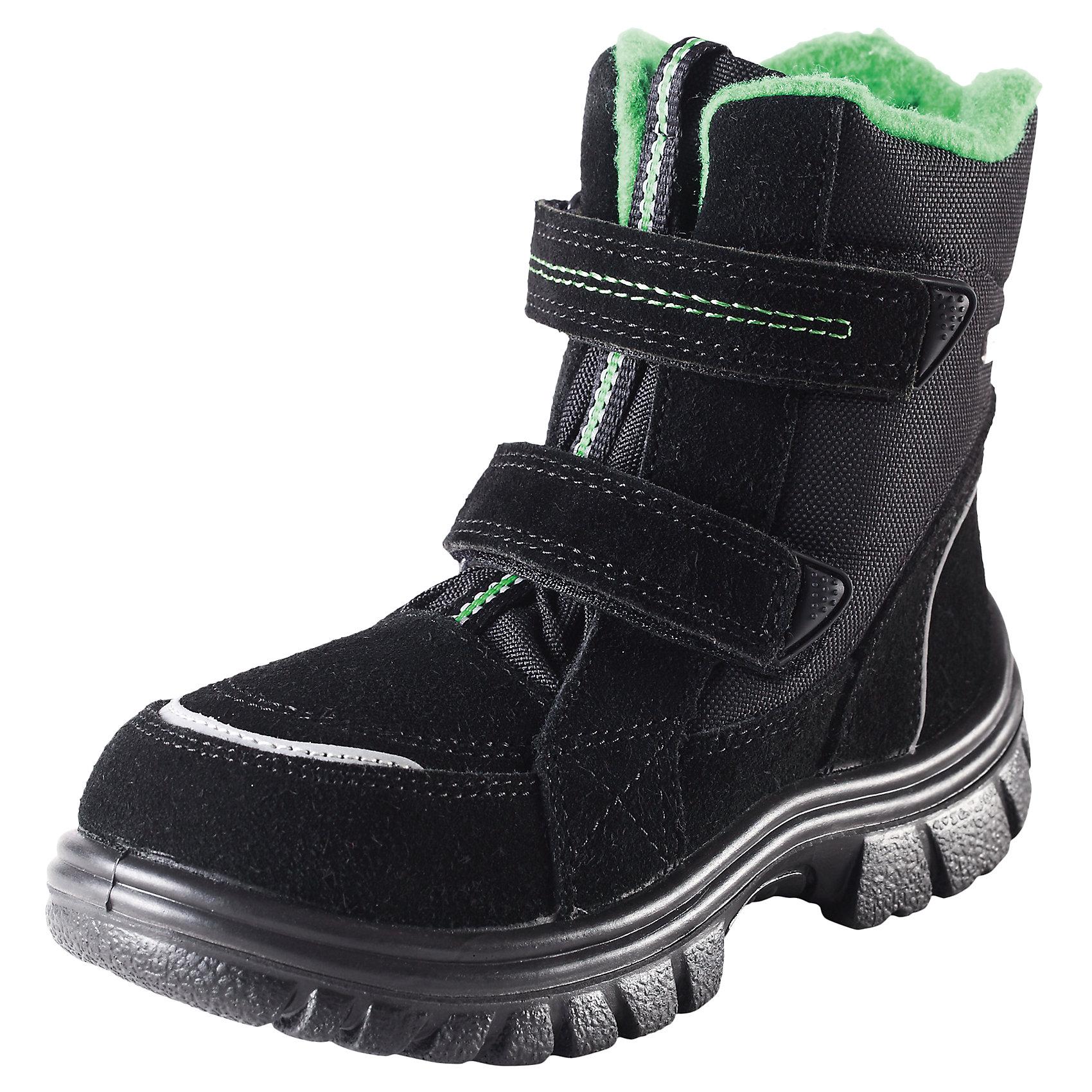 Зимние ботинки Reimatec для мальчика ReimaДетские зимние ботинки Reimatec® с ремешками-застежками на липучке <br>Верх из натуральной замши и ткани с водонепроницаемым покрытием <br>Теплая меховая подкладка на тканевой основе и вынимающиеся войлочные стельки <br>Легкая полиуретановая подошва не пропускает холод от земли <br>Безопасные, со светоотражающими элементами<br>Состав:<br>Подошва: ПУ, Верх: 50% Кожа 50% ПЭ<br><br>Ширина мм: 237<br>Глубина мм: 180<br>Высота мм: 152<br>Вес г: 438<br>Цвет: черный<br>Возраст от месяцев: 24<br>Возраст до месяцев: 36<br>Пол: Мужской<br>Возраст: Детский<br>Размер: 26,27,32,34,35,25,33,30,29,28,31,24<br>SKU: 4320117