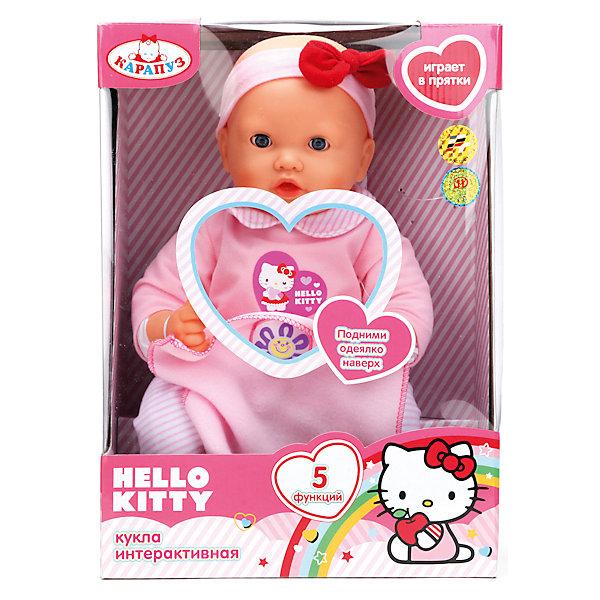 Кукла Hello Kitty, 40 см, 5 функций, КарапузИгрушки<br>Этот очаровательный пупс так похож на настоящего малыша, что не оставит равнодушной ни одно девочку! Малыш умеет моргать, двигает губами, разговаривает, весело смеется и даже играет в прятки! Стоит лишь поднять одеяло пупса так, чтобы цветочек касался его носа , как малыш попросит найти его, опустив одеяльце, мама услышит, как ее чадо любит эту игру. Пупс-девочка одета в милый розовый костюмчик с дизайном hello kitty (Хэлло Китти), на голове - розовая полоска с бантом. <br><br>Дополнительная информация:<br><br>- Материал: пластик, текстиль.<br>- Разговаривает на русском языке, поет песенку, моргает, шевелит губами, играет в прятки.<br>- Размер: 40 см.<br>- Комплектация: пупс в одежде, одеяло, бутылочка. <br>- Элемент питания: 3 АА батарейки (в комплект не входят).<br>- Изготовлен из высококачественных безопасных материалов. <br><br>Куклу Hello Kitty, 40 см, 5 функций, Карапуз, можно купить в нашем магазине.<br><br>Ширина мм: 250<br>Глубина мм: 360<br>Высота мм: 150<br>Вес г: 1100<br>Возраст от месяцев: 36<br>Возраст до месяцев: 96<br>Пол: Женский<br>Возраст: Детский<br>SKU: 4320299