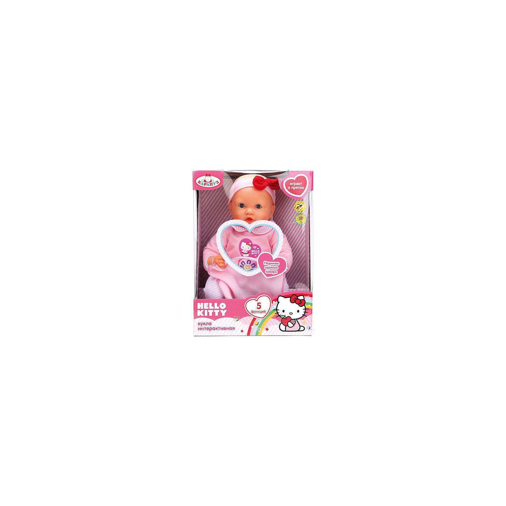Кукла Hello Kitty, 40 см, 5 функций, КарапузЭтот очаровательный пупс так похож на настоящего малыша, что не оставит равнодушной ни одно девочку! Малыш умеет моргать, двигает губами, разговаривает, весело смеется и даже играет в прятки! Стоит лишь поднять одеяло пупса так, чтобы цветочек касался его носа , как малыш попросит найти его, опустив одеяльце, мама услышит, как ее чадо любит эту игру. Пупс-девочка одета в милый розовый костюмчик с дизайном hello kitty (Хэлло Китти), на голове - розовая полоска с бантом. <br><br>Дополнительная информация:<br><br>- Материал: пластик, текстиль.<br>- Разговаривает на русском языке, поет песенку, моргает, шевелит губами, играет в прятки.<br>- Размер: 40 см.<br>- Комплектация: пупс в одежде, одеяло, бутылочка. <br>- Элемент питания: 3 АА батарейки (в комплект не входят).<br>- Изготовлен из высококачественных безопасных материалов. <br><br>Куклу Hello Kitty, 40 см, 5 функций, Карапуз, можно купить в нашем магазине.<br><br>Ширина мм: 250<br>Глубина мм: 360<br>Высота мм: 150<br>Вес г: 1100<br>Возраст от месяцев: 36<br>Возраст до месяцев: 96<br>Пол: Женский<br>Возраст: Детский<br>SKU: 4320299
