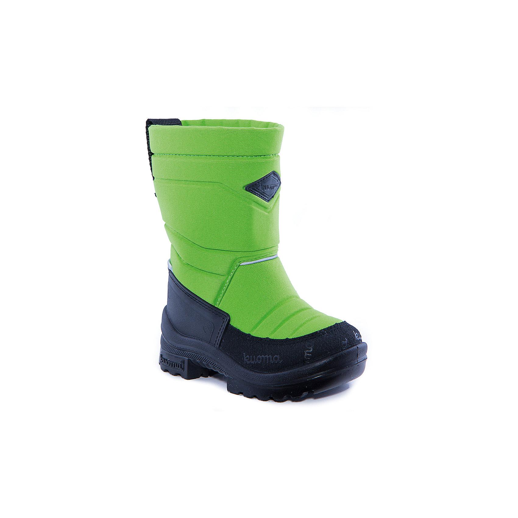 Зимние сапоги для мальчика KUOMAЗимние сапоги PUTKIVARSI от известного финского бренда kuoma® (Куома) исключительно теплые и очень удобные. Все изделия имеют крепкую амортизирующую подошву, которая «работает» даже в холодных зимних условиях. Кроме того, обувь снабжена сменными стельками и светоотражающими полосками в целях повышения безопасности. Матерчатый верх обуви проходят специальную противогрязевую и влагоотталкивающую обработку. Обувь kuoma® (Куома) подходит даже для самых холодных зим.     <br><br>Температурный режим: от - 5°C до - 30°C.<br><br>Состав:<br>Верх - триплированный, износостойкий, влагостойкий материал, стелька - иск/войлок, подошва - износостойкая, гибкая из полиуритана.Состав: <br>Материал верха: Полиамид с пропиткой.<br><br>Ширина мм: 257<br>Глубина мм: 180<br>Высота мм: 130<br>Вес г: 420<br>Цвет: зеленый<br>Возраст от месяцев: 15<br>Возраст до месяцев: 18<br>Пол: Мужской<br>Возраст: Детский<br>Размер: 22,25,26<br>SKU: 4320423