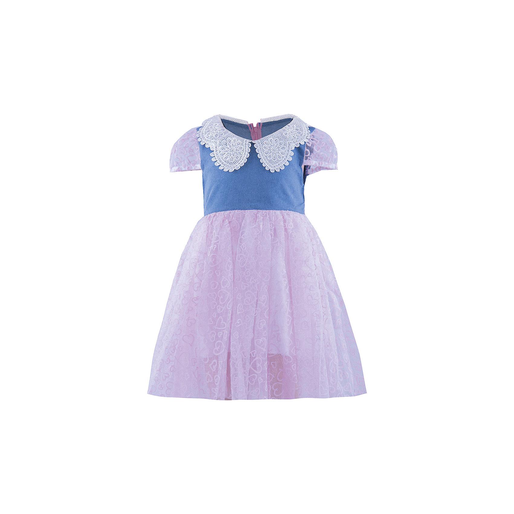 Нарядное платье ВенераНарядное платье для девочки от бренда Венера<br><br>Модное платье отлично подойдет для праздника или похода в гости. В любой ситуации ребенок   в нем будет выглядеть достойно, а чувствовать себя - комфортно.<br><br>Особенности модели:<br><br>- состав: верх- 50% полиэстер 50% хлопок, подклад-100% хлопок<br>- материал - разной фактуры (верх - тонкая джинса, низ - многослойный);<br>- цвет - синий, розовый;<br>- отложной воротник из кружева со стразами;<br>- рукава короткие, фонариком, из органзы;<br>- трехслойный пышный подол из органзы с набивным принтом;<br>- сзади застежка-молния;<br>- пояс из органзы сзади завязывается на бант.<br><br>Дополнительная информация:<br><br>Габариты:<br><br>длина по спинке - 55 см.<br><br>* соответствует размеру 98/104<br><br>Нарядное платье для девочки от бренда Венера можно купить в нашем магазине.<br><br>Ширина мм: 236<br>Глубина мм: 16<br>Высота мм: 184<br>Вес г: 177<br>Цвет: фиолетовый<br>Возраст от месяцев: 36<br>Возраст до месяцев: 48<br>Пол: Женский<br>Возраст: Детский<br>Размер: 98/104,92/98,104/110,110/116<br>SKU: 4322124