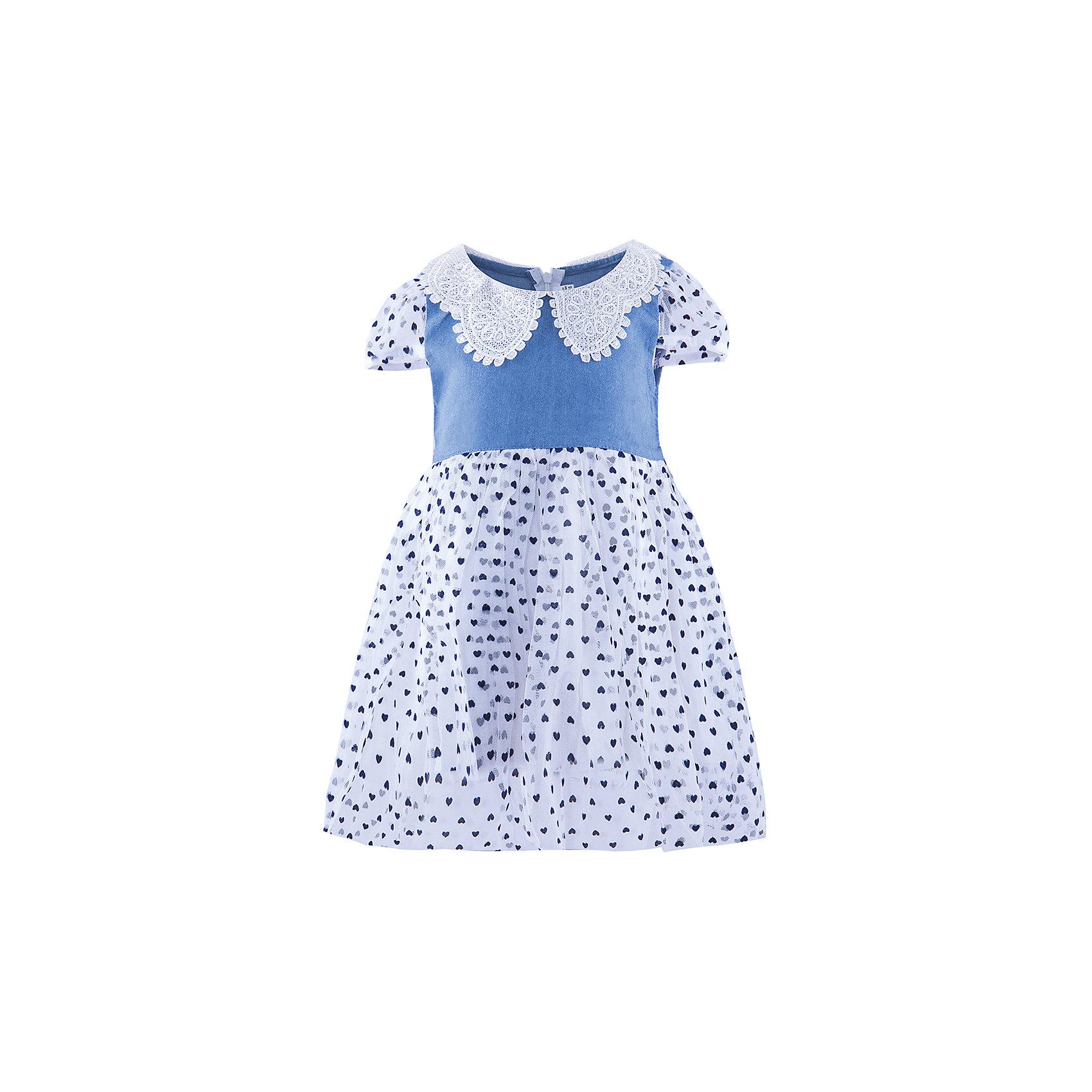 Нарядное платье ВенераНарядное платье для девочки от бренда Венера<br><br>Модное платье отлично подойдет для праздника или похода в гости. В любой ситуации ребенок   в нем будет выглядеть достойно, а чувствовать себя - комфортно.<br><br>Особенности модели:<br><br>- состав: верх- 50% полиэстер 50% хлопок, подклад-100% хлопок<br>- материал - разной фактуры (верх - тонкая джинса, низ - многослойный);<br>- цвет - синий, белый;<br>- отложной воротник из кружева со стразами;<br>- рукава короткие, фонариком, из органзы;<br>- трехслойный пышный подол из органзы с набивным принтом;<br>- сзади застежка-молния;<br>- пояс из органзы сзади завязывается на бант.<br><br>Дополнительная информация:<br><br>Габариты:<br><br>длина по спинке - 55 см.<br><br>* соответствует размеру 98/104<br><br>Нарядное платье для девочки от бренда Венера можно купить в нашем магазине.<br><br>Ширина мм: 236<br>Глубина мм: 16<br>Высота мм: 184<br>Вес г: 177<br>Цвет: белый<br>Возраст от месяцев: 36<br>Возраст до месяцев: 48<br>Пол: Женский<br>Возраст: Детский<br>Размер: 98/104,110/116,116/122,104/110<br>SKU: 4322149