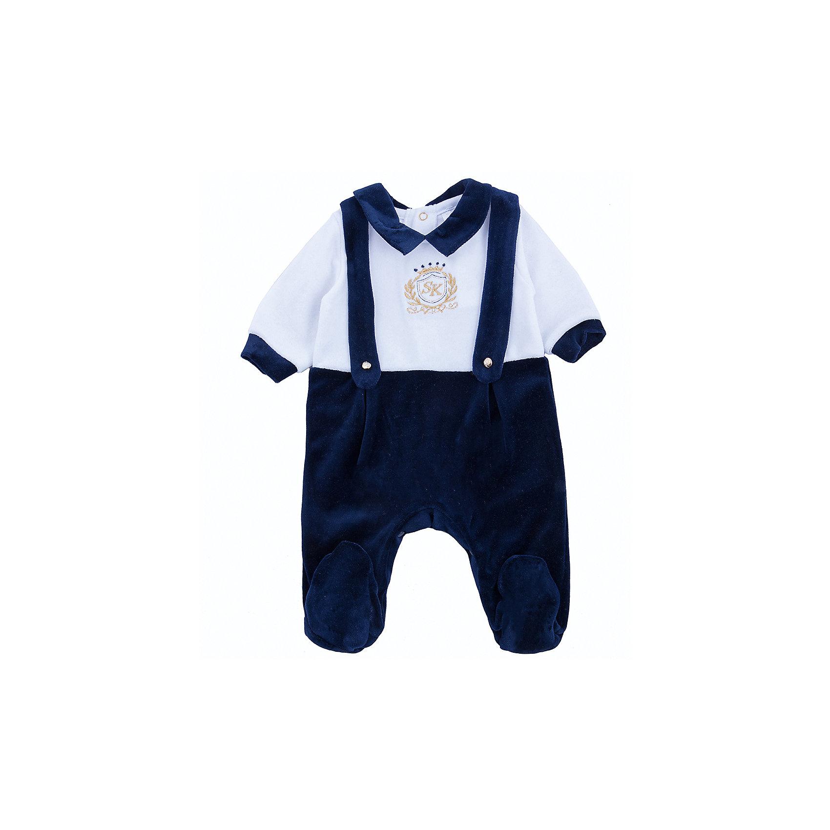 Комбинезон для мальчика Soni KidsКомбинезоны<br>Комбинезон для мальчика от популярной марки Soni Kids<br><br>Модный и удобный комбинезон относится к линейке Эстет. Модели из неё отличаются элегантным дизайном и эффектной отделкой.<br><br>Особенности модели:<br><br>- цвет - темно-синий, белый;<br>- материал с ворсом (велюр);<br>- имитация подтяжек;<br>- отложной воротник;<br>- золотистая вышивка;<br>- рукава длинные;<br>- застежки-кнопки сзади и внизу.<br><br>Дополнительная информация:<br><br>Состав:  80% хлопок, 20% полиэстер (велюр)<br><br>Габариты:<br><br>длина - 50 см;<br>длина рукава  - 20.<br><br>*соответствует размеру 62<br><br><br>Комбинезон для мальчика от популярной марки Soni Kids (Сони Кидс) можно купить в нашем магазине.<br><br>Ширина мм: 157<br>Глубина мм: 13<br>Высота мм: 119<br>Вес г: 200<br>Цвет: синий<br>Возраст от месяцев: 3<br>Возраст до месяцев: 6<br>Пол: Мужской<br>Возраст: Детский<br>Размер: 68,62,74<br>SKU: 4323408