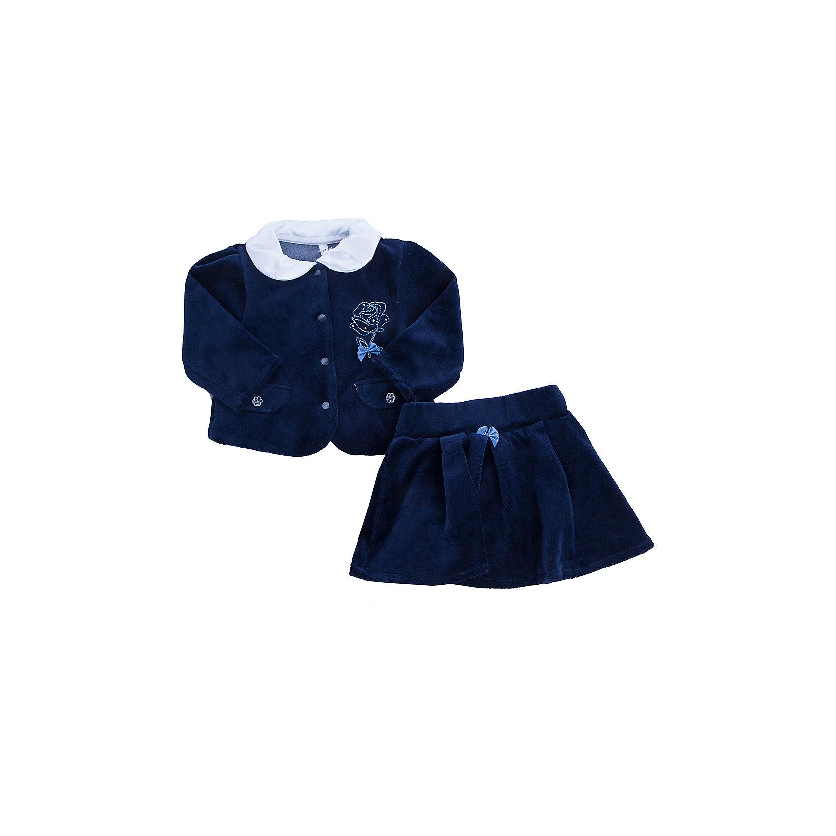 Комплект: жакет и юбка для девочки Soni KidsКомплект: жакет и юбка для девочки от популярной марки Soni Kids<br><br>Удобный и очень стильный комплект относится к линейке Реверанс. Модели из неё отличаются элегантным дизайном и эффектной отделкой.<br><br>Особенности модели:<br><br>- цвет - темно-синий;<br>- материал с ворсом (велюр);<br>- на  жакете - вышивка в виде розы со стразами;<br>- украшен атласным бантом;<br>- рукава длинные фонариком;<br>-  отложной белый атласный воротник.<br>- кнопки-застежки впереди;<br>- карманы-обманки;<br>-  юбка расклешенная;<br>- пояс - широкая резинка.<br><br>Дополнительная информация:<br><br>Состав:  80% хлопок, 20% полиэстер (велюр)<br><br>Габариты:<br><br>длина по спинке - 30 см;<br>длина рукава  - 21.<br><br>*соответствует размеру 74<br><br>Комплект: жакет и юбка для девочки от популярной марки Soni Kids (Сони Кидс) можно купить в нашем магазине.<br><br>Ширина мм: 157<br>Глубина мм: 13<br>Высота мм: 119<br>Вес г: 200<br>Цвет: синий<br>Возраст от месяцев: 6<br>Возраст до месяцев: 9<br>Пол: Женский<br>Возраст: Детский<br>Размер: 74,92,86,80<br>SKU: 4323476