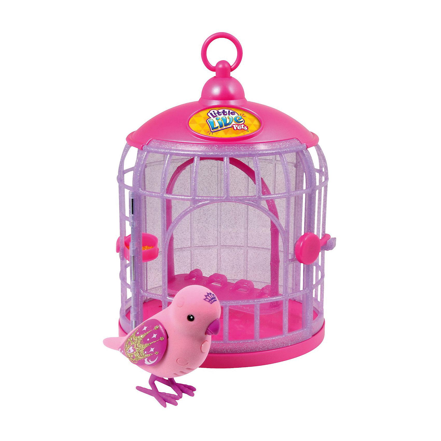 Говорящая птичка Принцесса, Little Live PetsГоворящие птички Little Live Pets в стильных клетках смогут не только украсить комнату, но и поднять настроение любому ребенку. Эти интерактивные питомцы умеют чирикать песенки и повторят фразы, сказанные их хозяином. Птички приятны на ощупь. Они реагируют на любое прикосновение.<br><br>Дополнительная информация:<br><br>Клетка имеет мерцающую поверхность, поэтому еще больше радует глаз.<br>Внимание! Для работы птички понадобятся две батарейки типа ААА. В комплект включены лишь тестовые батарейки.<br>Материал: пластик, флок.<br>Размер игрушки: 11.1 x 7.5 x 6 см.<br><br><br>Говорящую птичку Принцессу, Little Live Pets  можно купить в нашем магазине.<br><br>Ширина мм: 189<br>Глубина мм: 150<br>Высота мм: 290<br>Вес г: 430<br>Возраст от месяцев: 36<br>Возраст до месяцев: 108<br>Пол: Унисекс<br>Возраст: Детский<br>SKU: 4324837