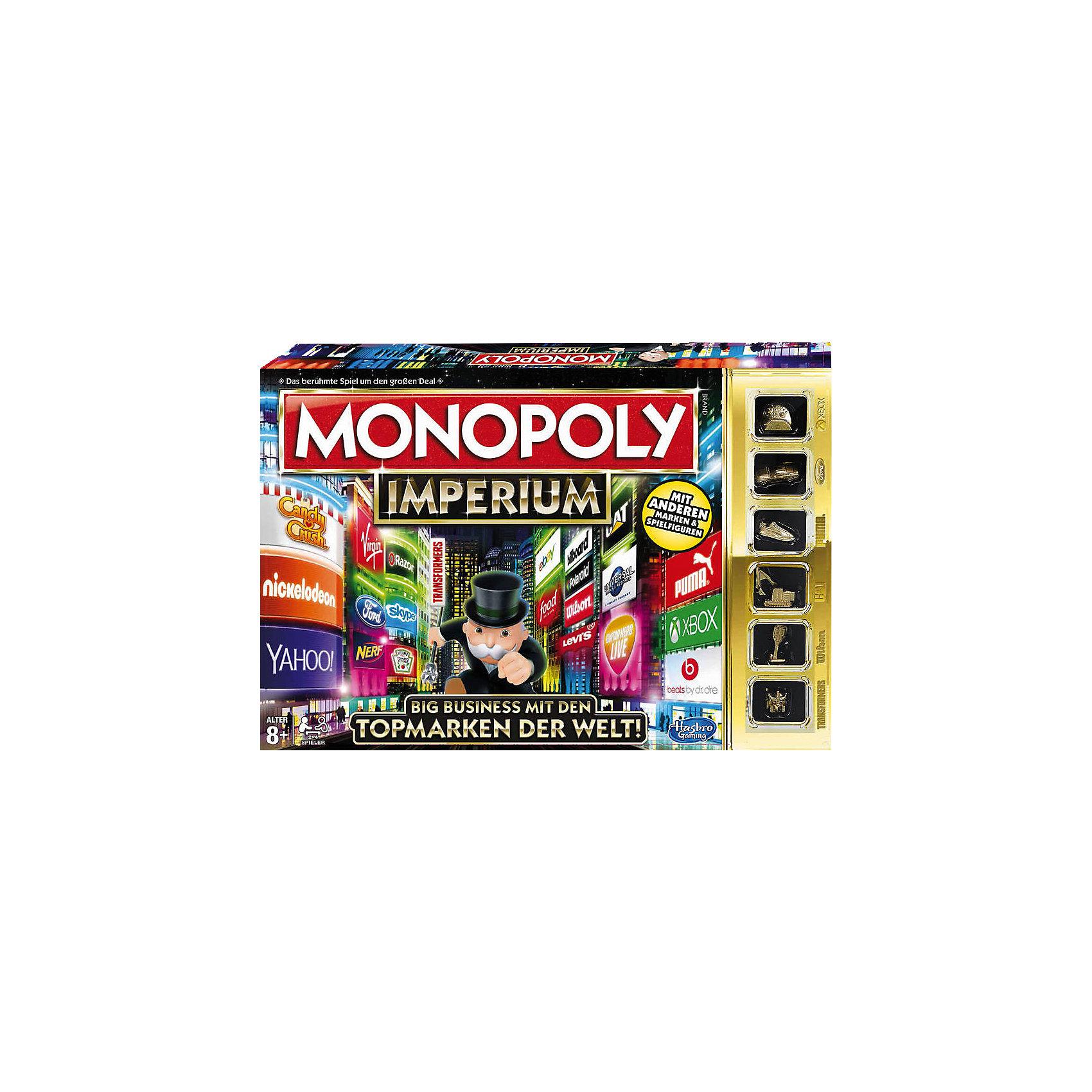 Игра Монополия Империя, HasbroИзвестная и всеми любимая игра стала еще интереснее. Идея игры осталась прежней, только теперь борьба идет не за обладание недвижимостью, а за владение брендами. В начале игры игрокам выдаются башенки, которые надо заполнить выкупленными брендами. Тот, кто соберет больше логотипов в своей башне, получит больше прибыли, тот кто первым достигнет вершины - выйдет победителем! Смело банкроть соперников и вырывайся вперед! <br><br>Дополнительная информация:<br><br>- Материал: пластик, картон.<br>- Размер: 40х27х5 см.<br>- Комплектация: игровое поле; 4 башни; 6 фишек; 30 жетонов с логотипами; 6 жетонов с офисами; 14 карточек Шанс; 14 карточек Империя; пачка денег; 2 игральных кубика.<br>- Количество игроков: 2-4.<br><br>Игру Монополия Империя, Hasbro (Хасбро), можно купить в нашем магазине.<br><br>Ширина мм: 403<br>Глубина мм: 271<br>Высота мм: 58<br>Вес г: 918<br>Возраст от месяцев: 96<br>Возраст до месяцев: 228<br>Пол: Унисекс<br>Возраст: Детский<br>SKU: 4325391