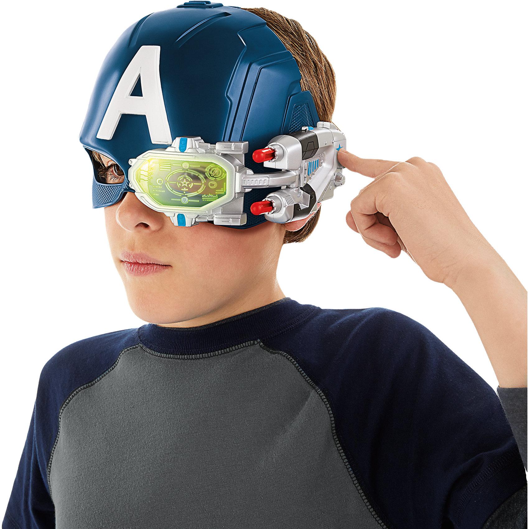 Электронный шлем Первого МстителяИгрушки<br>Электронный шлем Первого Мстителя.<br><br>Характеристики:<br><br>- В комплекте: шлем, 2 снаряда<br>- Батарейки: 3 типа LR44 (входят в комплект)<br>- Материал: пластик<br>- Цвет: синий<br>- Размер упаковки: 22,9х14х26,7 см.<br><br>Электронная шлем одного из самых известных супергероев Марвел – Капитана Америки – поможет юному поклоннику приключений Мстителей перевоплотиться в любимого героя и даже обрести часть его сверхчеловеческих способностей! Игровой шлем самого патриотичного из супергероев Мстителя выполнен в точном соответствии со своим комикс-прототипом, полностью повторяя внешний вид элемента костюма супергероя. Он такого же синего цвета, как и у Первого Мстителя, и с той же буквой А, обозначающей его псевдоним. В шлем, скрывающий глаза, встроено специальное устройство, позволяющее видеть в темноте и в инфракрасном свете. К височной части шлема прикреплён миниатюрный бластер, выстреливающий двумя снарядами (поочередно)! Размер электронного шлема Первого мстителя регулируется с помощью специального ремешка. Шлем изготовлен из качественного и нетоксичного пластика.<br><br>Электронный шлем Первого Мстителя можно купить в нашем интернет-магазине.<br><br>Ширина мм: 271<br>Глубина мм: 228<br>Высота мм: 143<br>Вес г: 388<br>Возраст от месяцев: 60<br>Возраст до месяцев: 120<br>Пол: Мужской<br>Возраст: Детский<br>SKU: 4326304