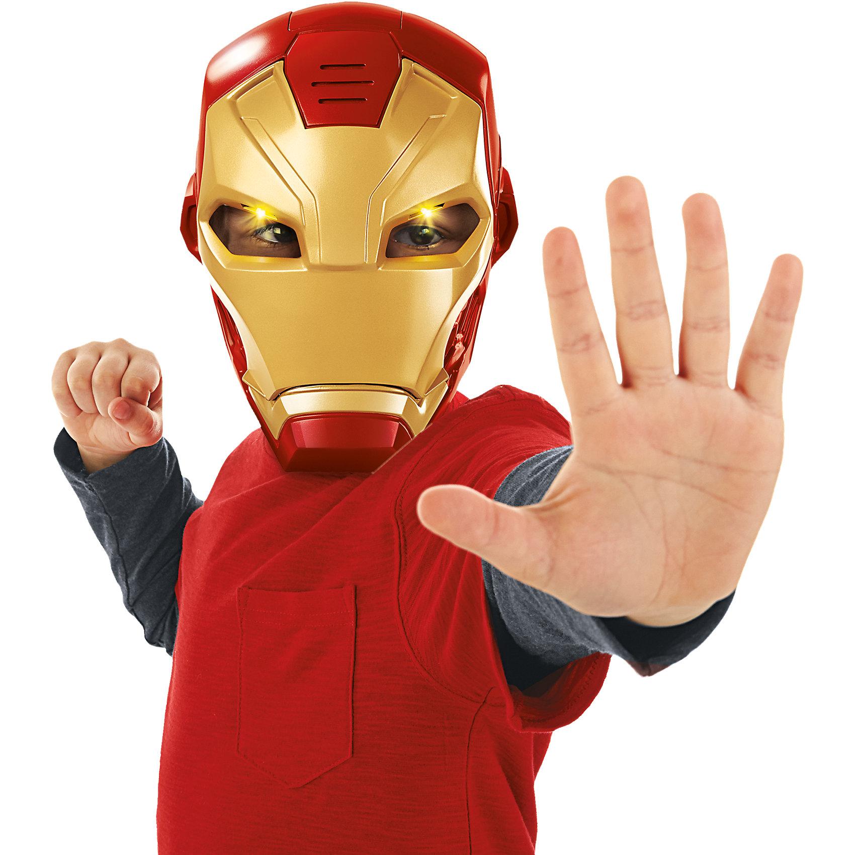 Электронная маска Железного ЧеловекаИгрушки<br>Электронная маска Железного Человека, Hasbro, станет отличным подарком для Вашего ребенка, особенно если он является поклонником популярных комиксов и фильмов о супергероях Мстители (Avengers). Популярный супергерой обладает мощным костюмом, который великолепно защищает его от противников и придает ему силу и ловкость. Маска поможет ребенку представить себя в роли любимого персонажа и погрузиться с друзьями в увлекательный игровой процесс. Игрушка из прочного качественного пластика выполнена очень реалистично, все детали тщательно проработаны. Маска оснащена звуковым модулем: при открытии и закрытии забрала раздаются звуки и фразы из фильма. Когда головной убор закрывается, в глазах игрушки загорается ярко-желтый свет. Маска комфортно фиксируется с помощью удобных мягких ремешков, которые можно отрегулировать до нужного размера. <br><br>Дополнительная информация:<br><br>- Материал: пластик.<br>- Требуются батарейки: 2 х ААА (входят в комплект). <br>- Размер игрушки: 10 х 20,5 х 28 см. <br>- Размер упаковки: 32 х 23 х 30 см.<br>- Вес: 0,5 кг.<br><br>Электронную маску Железного Человека, Hasbro, можно купить в нашем интернет-магазине.<br><br>Ширина мм: 280<br>Глубина мм: 220<br>Высота мм: 112<br>Вес г: 456<br>Возраст от месяцев: 48<br>Возраст до месяцев: 108<br>Пол: Мужской<br>Возраст: Детский<br>SKU: 4326306