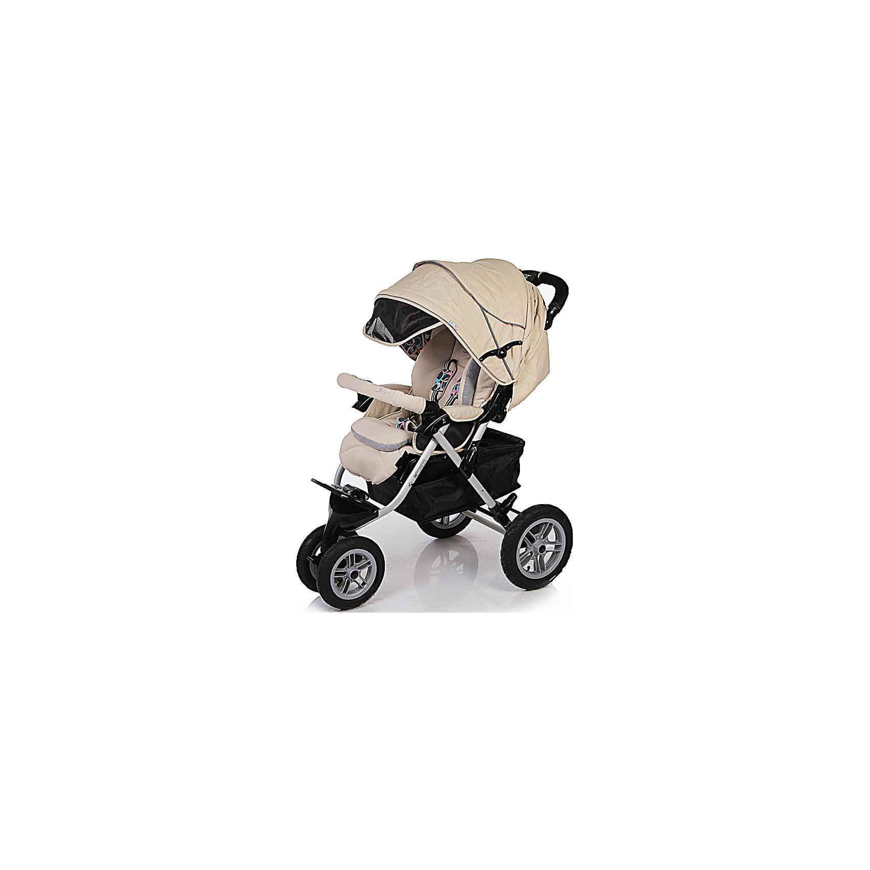 Прогулочная коляска с конвертом Prism S-901 WFM, Jetem, бежевыйПрогулочная коляска Prism S-901 WFM, Jetem - легкая и маневренная трехколесная коляска, отвечающая всем требованиям комфорта и безопасности малыша. Коляска оснащена широким удобным для ребенка сиденьем с 5-точечными ремнями безопасности и съемным мягким<br>бампером. Спинка раскладывается в 3-х положениях вплоть до горизонтального. Выдвижная подножка обеспечивает малышу дополнительный комфорт. Сиденье защищено большим опускающимся капюшоном, который раскладывается до бампера. Благодаря данной особенности<br>коляску можно использовать при наступлении зимнего периода, в комплект также входит теплый конверт. Для родителей предусмотрена удобная эргономичная ручка с мягкой накладкой и вместительная корзина для принадлежностей малыша. <br><br>Большие надувные колеса из каучука обеспечивают проходимость по любой местности, сдвоенное переднее колесо поворотное с фиксацией. Коляска легко и компактно складывается книжкой и не занимает много места при хранении, может стоять в сложенном положении. Тканевые<br>детали выполнены из влагостойкой ткани с антибактериальным покрытием. Подходит для детей от 6 мес. до 3-х лет.<br><br><br>Особенности:<br><br>- 3 положения спинки, включая горизонтальное;<br>- 5-ти точечные ремни безопасности;<br>- выдвижная регулируемая подножка;<br>- съемный бампер с мягкой обивкой;<br>- полностью опускаемый капюшон;<br>- облегченная алюминиевая рама;<br>- большая корзина для вещей;<br>- дождевик;<br>- утепленный конверт;<br>- синхронные тормоза;<br>- легко и компактно складывается книжкой.<br><br>Дополнительная информация:<br><br>- Цвет: шоколадный.<br>- Материал: алюминий, текстиль, пластик<br>- Ширина колесной базы: 61 см.<br>- Диаметр колес: 26 см. и 30 см.<br>- Размер спального места: 40 х 96 см.<br>- Размер в разложенном виде: 61 х 120 х 116 см.<br>- Размер в сложенном виде: 43 х 83 х 42 см.<br>- Вес: 14 кг. <br><br><br>Прогулочную коляску Prism S-901 WFM с конвертом, Jetem, шоколадный, 