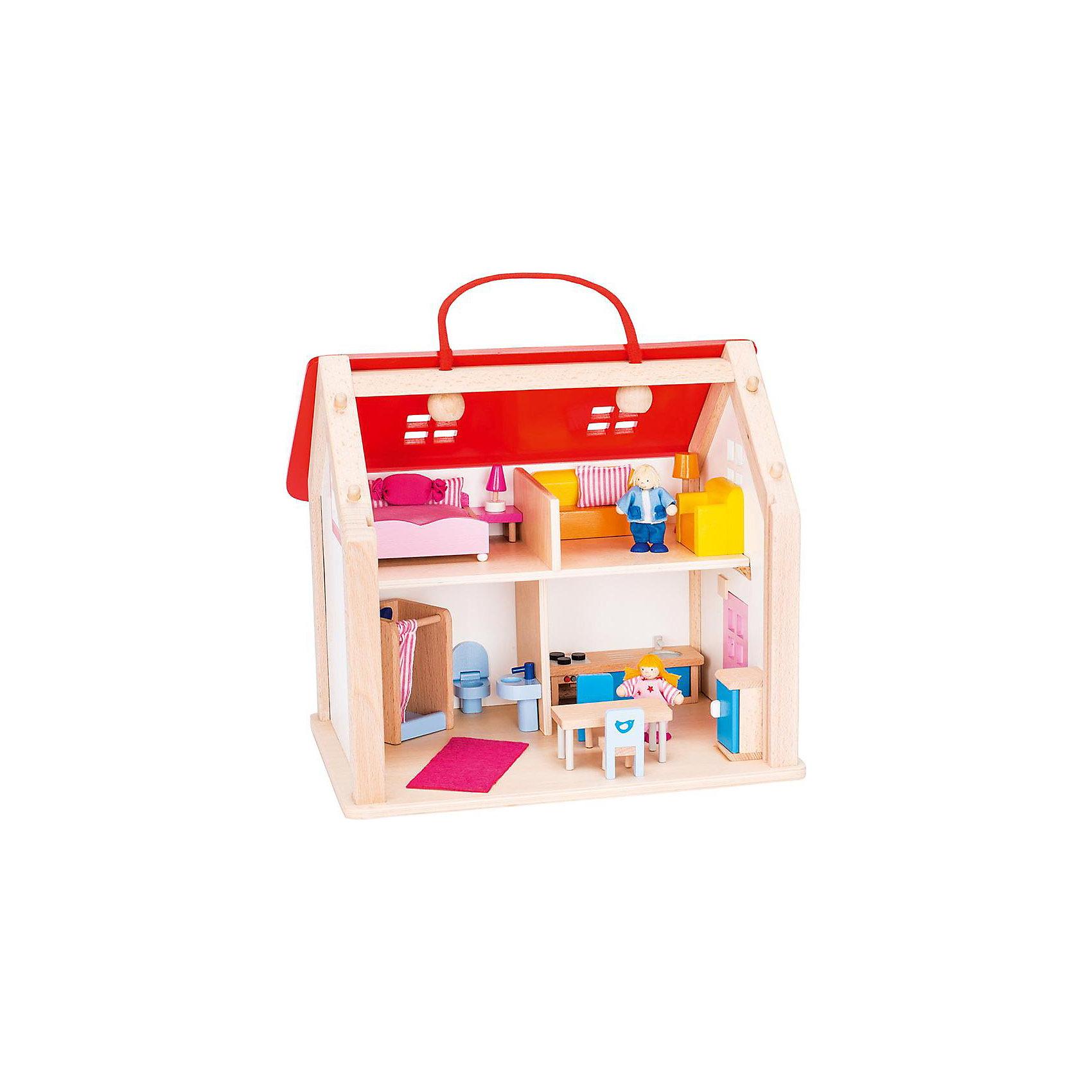 goki Кукольный дом  (с ручкой) , 24 предм., goki goki мебель для кукольной гостиной 28 предметов