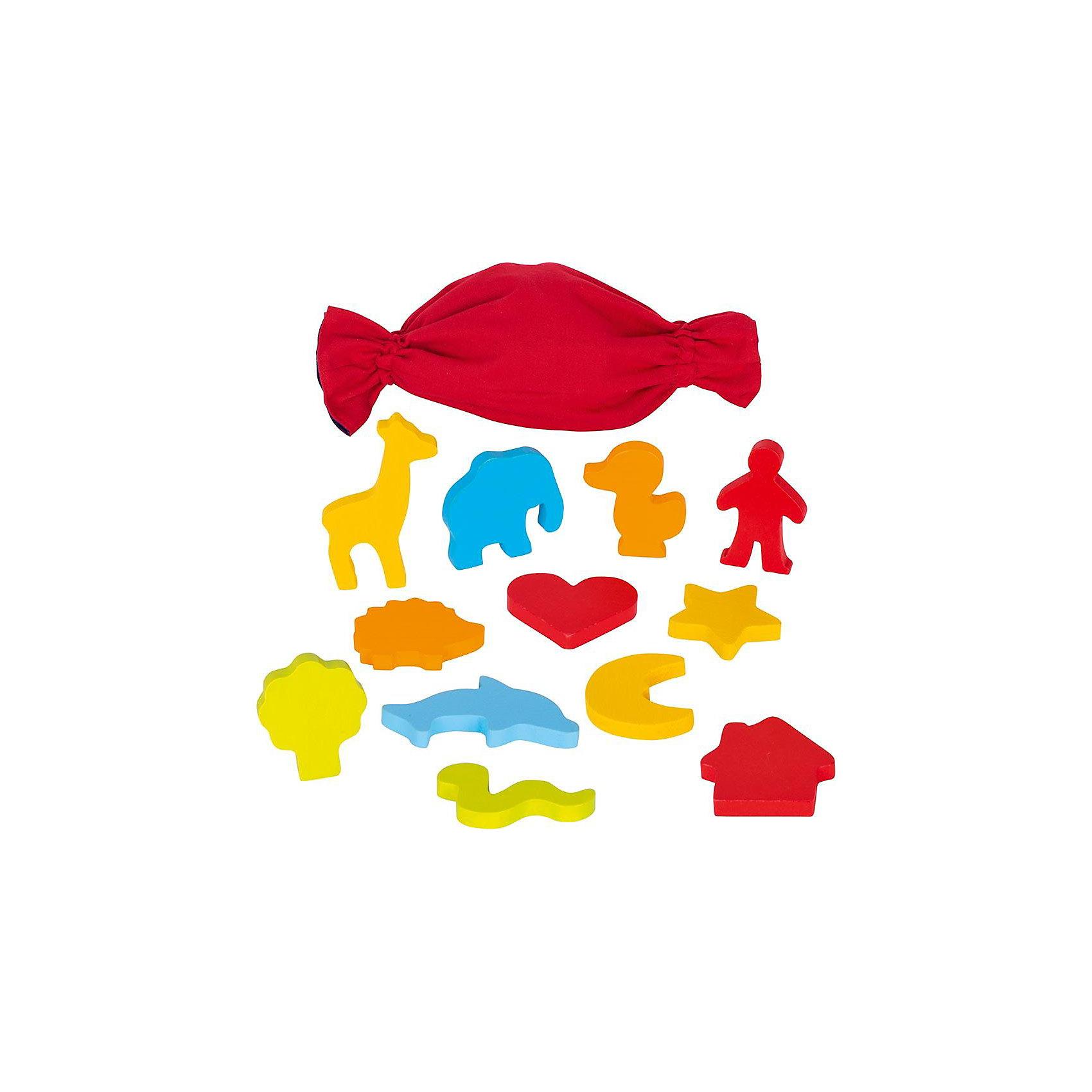 Сенсорная игра Мемо  Формы в мешочке  CAUSE, gokiИгры мемо<br>В ярко-красном мешке находятся разнообразные деревянные фигурки: дерево, слон, жираф, человечек, ежик, месяц, сердечко, дельфин, домик, звездочка, змейка.Ребенку, в зависимости от возраста, можно предложить несколько вариантов игры: 1. рассмотреть внимательно и изучить в ручках все фигуры, затем сложить их в мешок и вслепую вынимать из него пары элементов. 2. По памяти называть цвет каждой фигурки. 3. Вынимать элементы из мешка, называя их правильно. 4. Придумать свою историю и построить из фигурок сценку. Игра развивает в первую очередь память, мелкую моторику, тактильные ощущения, знакомит с понятиями формы и цвета.<br><br>Ширина мм: 250<br>Глубина мм: 100<br>Высота мм: 250<br>Вес г: 380<br>Возраст от месяцев: 36<br>Возраст до месяцев: 72<br>Пол: Унисекс<br>Возраст: Детский<br>SKU: 4328620