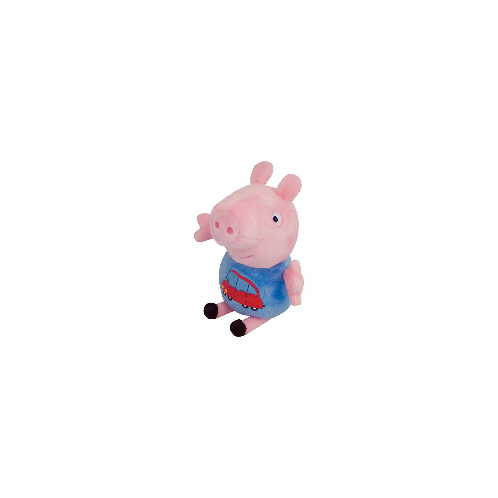Росмэн Мягкая ирушка Джордж с машинкой, 18 см, Свинка Пеппа мягкая игрушка peppa pig джордж с машинкой свинка розовый текстиль 18 см 29620
