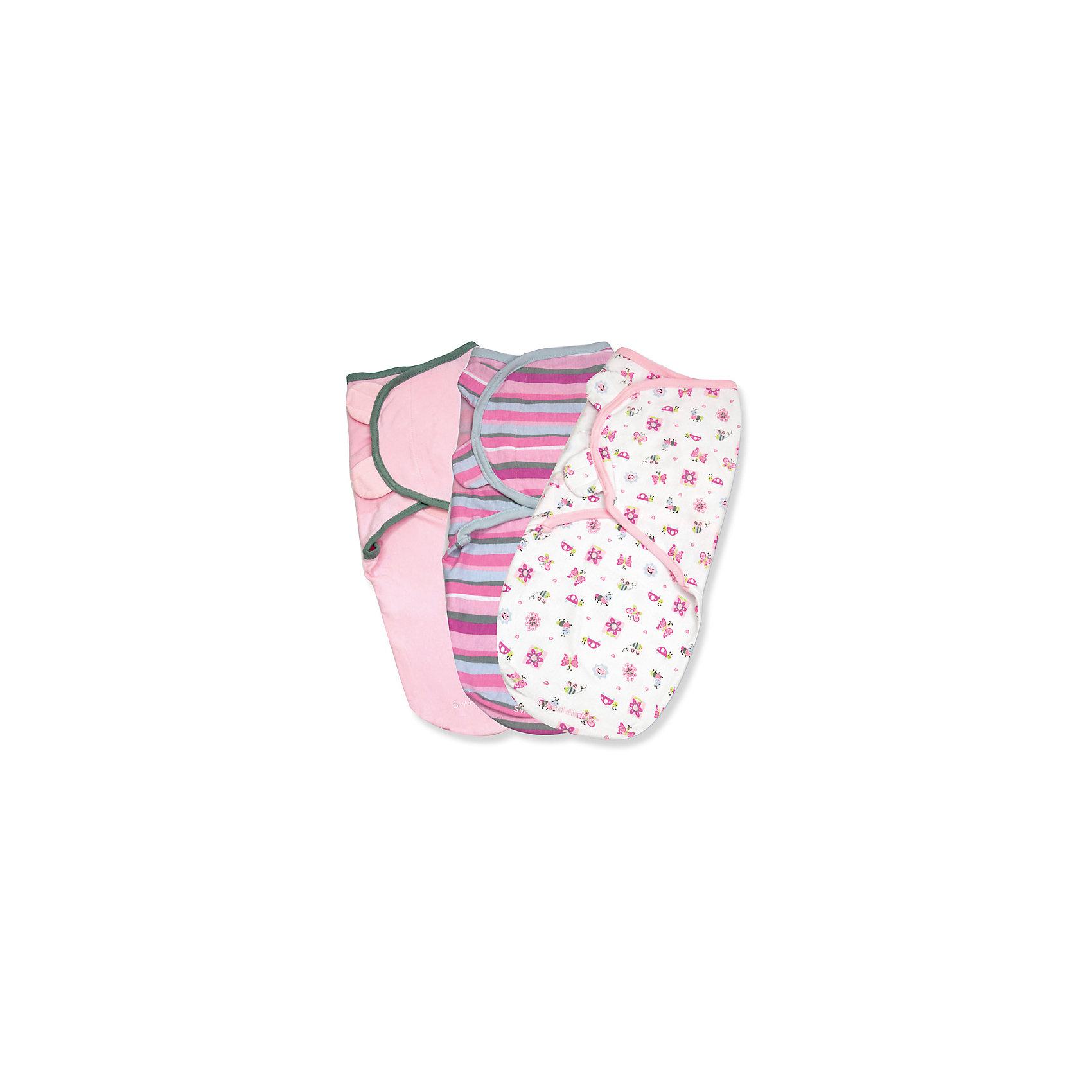 Конверт для пеленания на липучке, SWADDLEME®, р-р S/M, 3 шт., розовые жучки