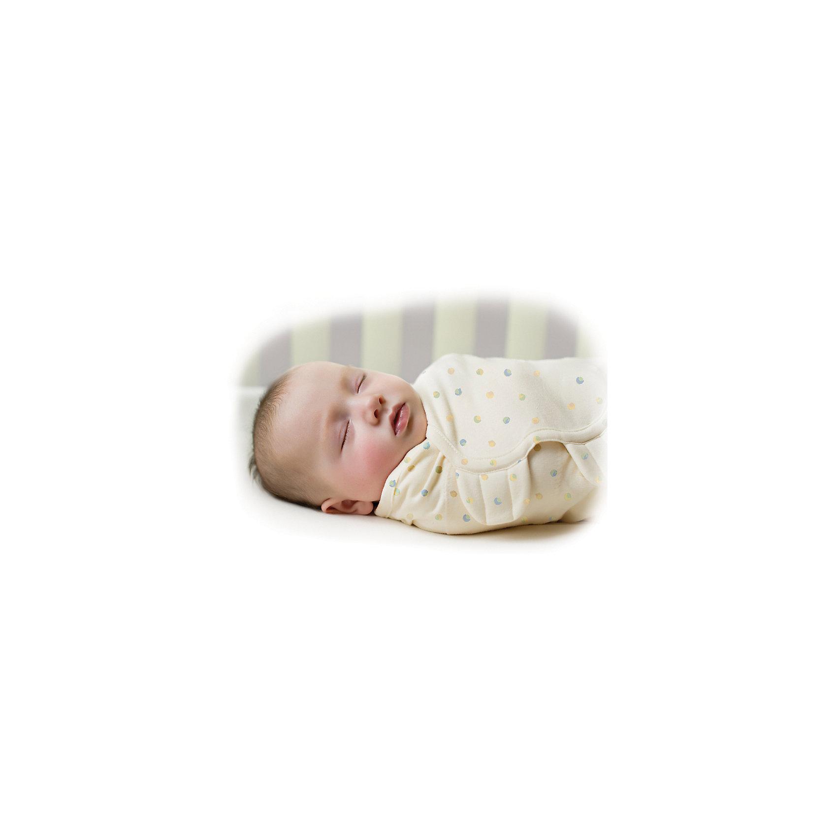 Конверт для пеленания на липучке, SWADDLEME® ORGANIC, р-р S/M, кремовый в точку