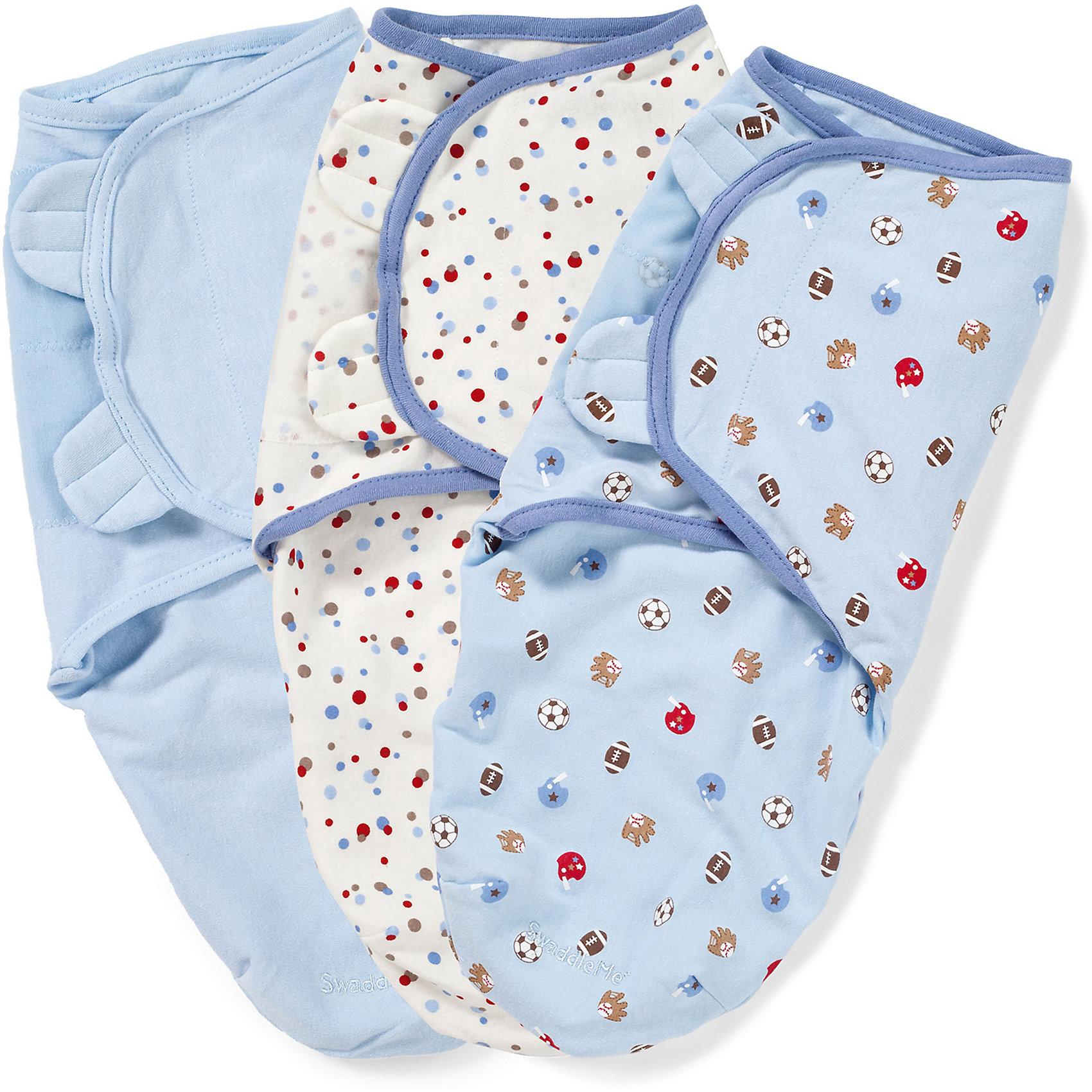 Конверт для пеленания на липучке, SWADDLEME®, р-р S/M, 3 шт., спортПеленание<br>Пеленание успокаивает новорожденных путем воссоздания знакомых ему чувств, как в утробе мамы.<br>Мягко облегая, конверт не ограничивает движение ребенка, и в тоже время помогает снизить рефлекс внезапного вздрагивания, благодаря этому сон малыша и родителей будет более крепким.<br>Регулируемые крылья для закрытия конверта сделаны таким образом, что даже самый активный ребенок не сможет распеленаться во время сна.<br>Объятия крыльев регулируются по мере роста ребенка.<br>Конверт можно открыть в области ног малыша для легкой смены подгузников - нет необходимости разворачивать детские ручки.<br>Состав: хлопок и нити эластана. <br>Длина конверта: 50 см (размер S/M). Подходит для малышей среднего размера от 3 до 7 кг<br><br>Ширина мм: 220<br>Глубина мм: 220<br>Высота мм: 50<br>Вес г: 540<br>Возраст от месяцев: 0<br>Возраст до месяцев: 6<br>Пол: Мужской<br>Возраст: Детский<br>SKU: 4331814
