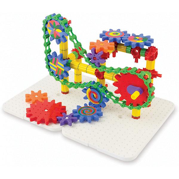 Конструктор с шестеренками, 165 элементов, QuercettiПластмассовые конструкторы<br>Конструктор с шестеренками, 165 элементов, Quercetti включает элементы разных форм, размеров и цветов, с помощью которых можно создать различные механизмы с зубчатыми колесами или шестернями. Пластиковые элементы конструктора вставляются в специальную основу (в комплекте 2 основы). В комплект также входит буклет с красочными примерами для сборки и наклейки для шестерней. <br>Игры с конструктором с шестеренками, 165 элементов, Quercetti развивают мелкую моторику рук, фантазию, способности анализировать и сопоставлять детали, знакомят их понятиями формы, размера, цвета и основные принципы механики.<br><br>Дополнительная информация:<br><br>Материал: пластик<br>Размеры: основание - 31 х 22 см, шестерни - 6 х 5 см; 9 х 8 см; 11 х 11 см<br>Размер упаковки: 32 х 23 х 17 см <br>Состав набора:<br>2 больших шестеренки <br>6 средних шестеренок <br>2 малых шестеренки <br>30 больших трубчатых элементов <br>8 малых трубчатых элементов <br>40 соединительных элементов голубого цвета <br>2 соединительных элемента желтого цвета <br>6 оснований для трубчатых элементов <br>40 звеньев для создания цепи <br>12 красных соединителей <br>12 белых направляющих <br>2 малых шестеренки для рукояток <br>2 рукоятки для вращения <br>1 буклет с примерами <br>2 белых основания <br>1 ящик<br><br>Конструктор с шестеренками, 165 элементов, Quercetti можно купить в нашем магазине.<br><br>Ширина мм: 320<br>Глубина мм: 170<br>Высота мм: 230<br>Вес г: 1350<br>Возраст от месяцев: 60<br>Возраст до месяцев: 192<br>Пол: Унисекс<br>Возраст: Детский<br>SKU: 4331828