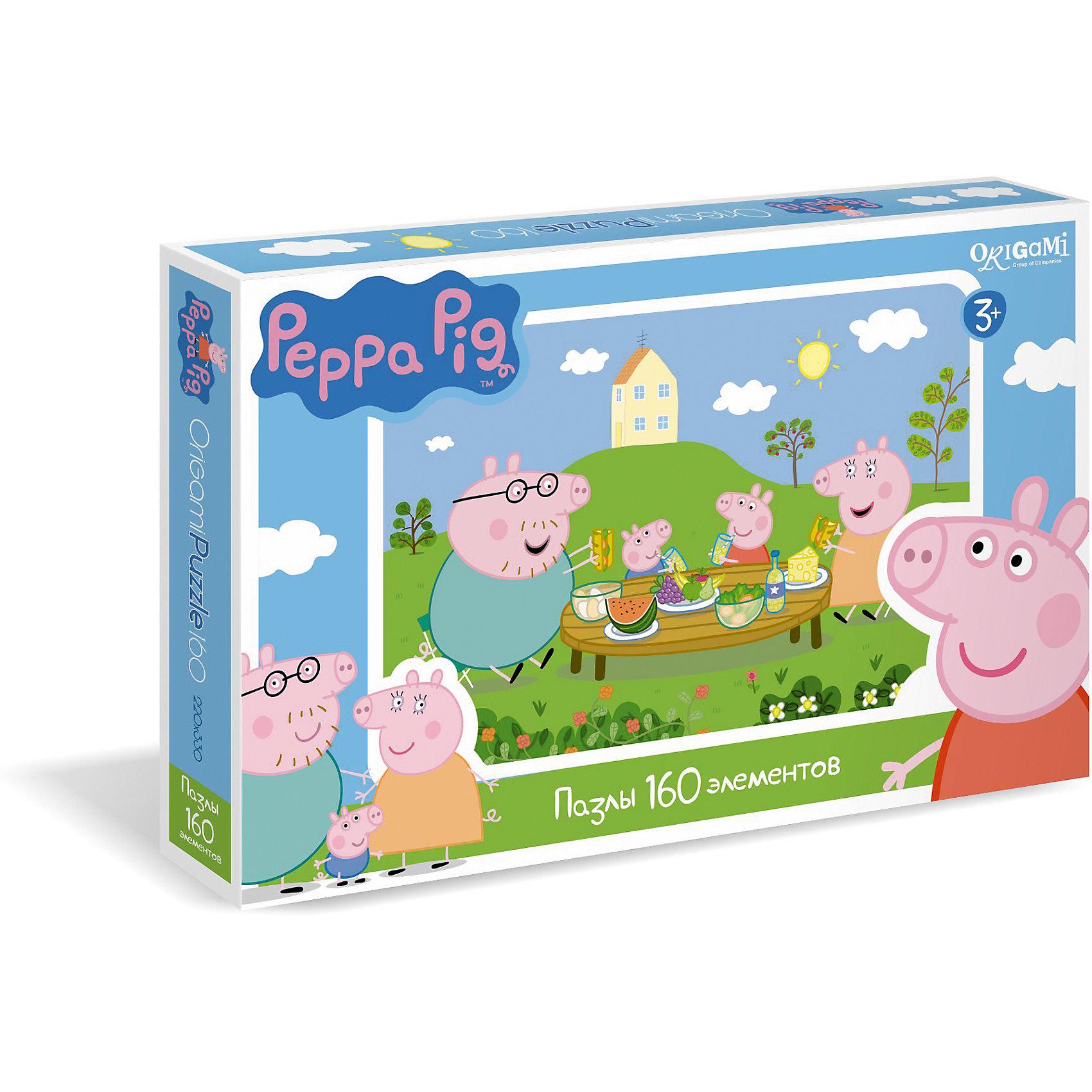 Пазл Пикник, 160 деталей, Свинка ПеппаПазл Пикник, 160 деталей, Свинка Пеппа - это увлекательный пазл, созданный для детей, которые любят с интересом и пользой проводить время.<br>Пазл Пикник - это яркий и красочный пазл по мотивам мультсериала о приключениях симпатичной маленькой свинки Пеппы. С помощью входящих в набор деталей ребенок сможет собрать красочную картинку, на которой свинка Пеппа со своими родителями и маленьким братцем Джорджем в солнечный день отдыхают на природе. Детали пазла прекрасно соединяются между собой, не расслаиваются и не ломаются при сборке. Эта головоломка позволит ребенку развить мелкую моторику рук, терпение, усидчивость, зрительную память и научит мыслить логически.<br><br>Дополнительная информация:<br><br>- Количество деталей: 160<br>- Размер собранного пазла: 33х22 см.<br>- Материал: картон<br>- Размер коробки: 29,2x3,8x19 мм.<br>- Вес: 140 гр.<br><br>Пазл Пикник, 160 деталей, Свинка Пеппа можно купить в нашем интернет-магазине.<br><br>Ширина мм: 292<br>Глубина мм: 38<br>Высота мм: 190<br>Вес г: 140<br>Возраст от месяцев: 36<br>Возраст до месяцев: 96<br>Пол: Унисекс<br>Возраст: Детский<br>Количество деталей: 160<br>SKU: 4335010