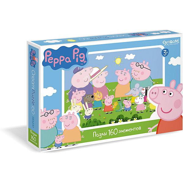Пазл 160 деталей, Свинка ПеппаПопулярные игрушки<br>Пазл 160 деталей, Свинка Пеппа - это увлекательный пазл, созданный для детей, которые любят с интересом и пользой проводить время.<br>Яркий и красочный пазл сделан по мотивам мультсериала о приключениях симпатичной маленькой свинки Пеппы и ее друзей. С помощью входящих в набор деталей ваш ребенок сможет собрать красочную картинку, на которой изображены Свинка Пеппа, ее семья и друзья. Детали пазла прекрасно соединяются между собой, не расслаиваются и не ломаются при сборке. Эта головоломка позволит ребенку развить мелкую моторику рук, терпение, усидчивость, зрительную память и научит мыслить логически.<br><br>Дополнительная информация:<br><br>- Количество деталей: 160<br>- Размер собранного пазла: 33х22 см.<br>- Материал: картон<br>- Размер коробки: 29,2x3,8x19 мм.<br>- Вес: 140 гр.<br><br>Пазл 160 деталей, Свинка Пеппа можно купить в нашем интернет-магазине.<br>Ширина мм: 292; Глубина мм: 38; Высота мм: 190; Вес г: 140; Возраст от месяцев: 36; Возраст до месяцев: 96; Пол: Унисекс; Возраст: Детский; Количество деталей: 160; SKU: 4335011;