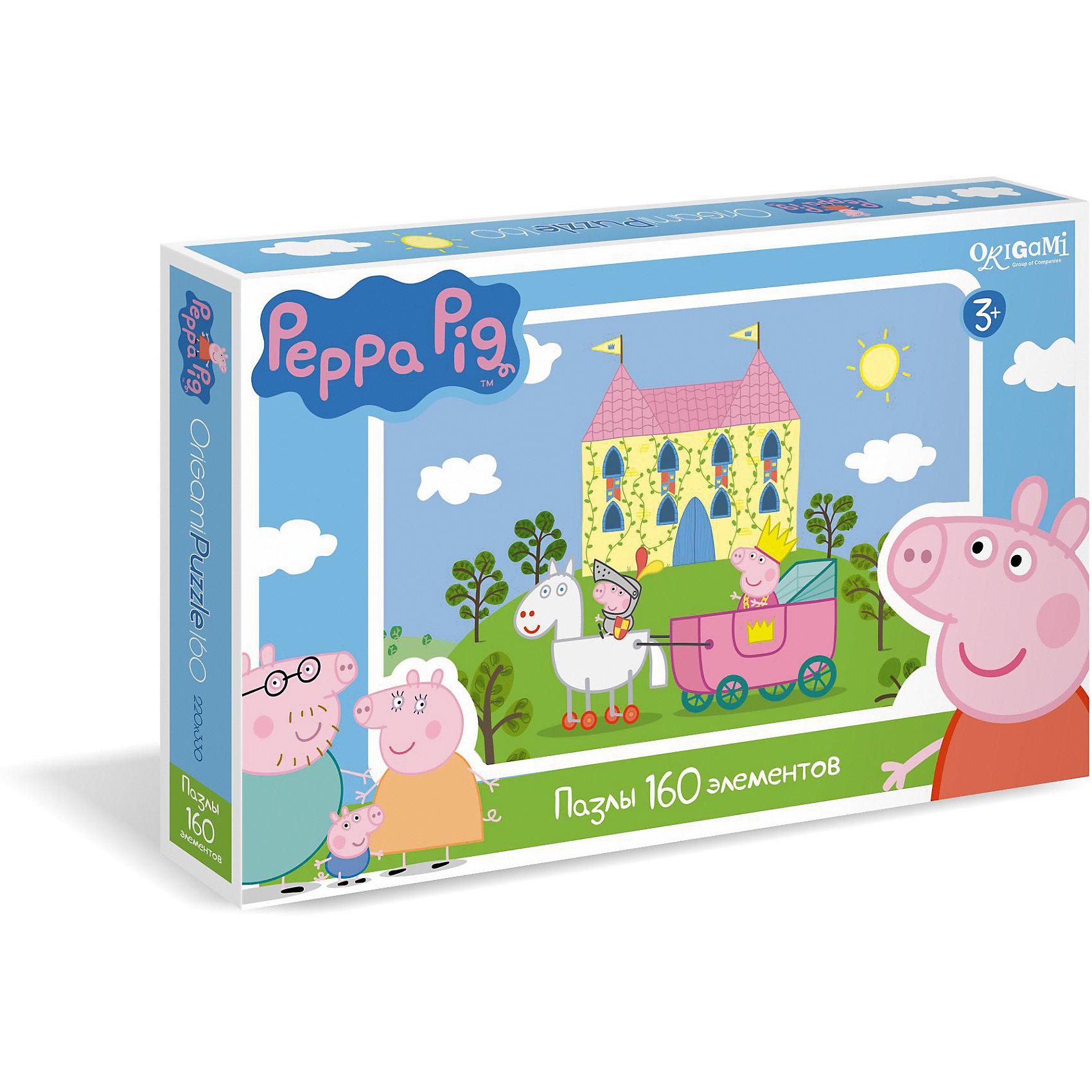 Пазл Замок, 160 деталей, Свинка ПеппаКлассические пазлы<br>Пазл Замок, 160 деталей, Свинка Пеппа - это увлекательный пазл, созданный для детей, которые любят с интересом и пользой проводить время.<br>Пазл Замок – это яркий и красочный пазл по мотивам мультсериала о приключениях симпатичной маленькой свинки Пеппы. С помощью входящих в набор деталей ваш ребенок сможет собрать красочную картинку, на которой настоящая принцесса Свинка Пеппа в королевском кортеже осматривает свои владения, а управляет им малыш Джордж, одетый в рыцарские доспехи. Детали пазла прекрасно соединяются между собой, не расслаиваются и не ломаются при сборке. Эта головоломка позволит ребенку развить мелкую моторику рук, терпение, усидчивость, зрительную память и научит мыслить логически.<br><br>Дополнительная информация:<br><br>- Количество деталей: 160<br>- Размер собранного пазла: 33х22 см.<br>- Материал: картон<br>- Размер коробки: 29,2x3,8x19 мм.<br>- Вес: 140 гр.<br><br>Пазл Замок, 160 деталей, Свинка Пеппа можно купить в нашем интернет-магазине.<br><br>Ширина мм: 292<br>Глубина мм: 38<br>Высота мм: 190<br>Вес г: 140<br>Возраст от месяцев: 36<br>Возраст до месяцев: 96<br>Пол: Унисекс<br>Возраст: Детский<br>Количество деталей: 160<br>SKU: 4335012