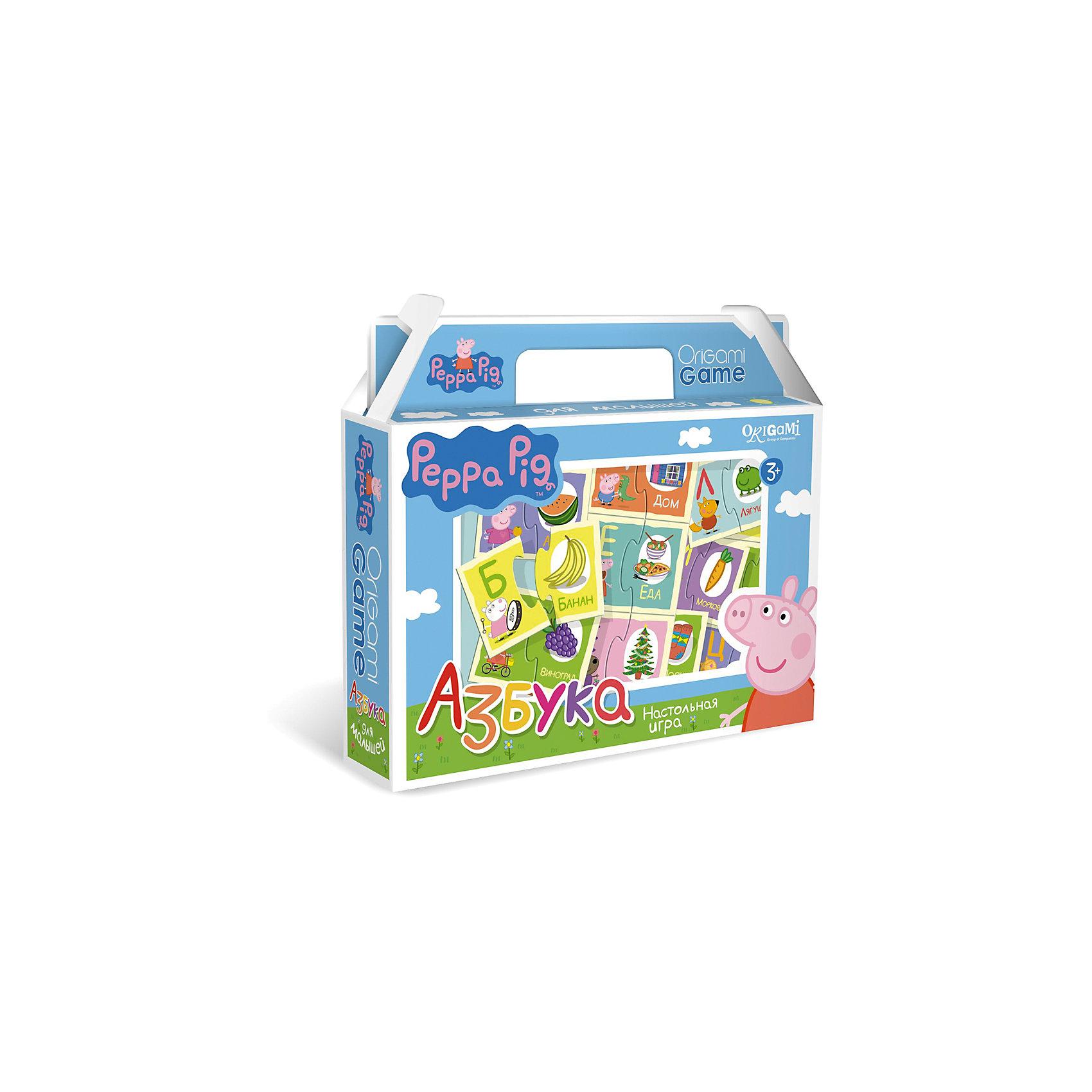 Игра Азбука, Свинка ПеппаИгра Азбука, Свинка Пеппа – это интересная настольная игра, которая обязательно увлечет вашего малыша и поможет ему освоить алфавит.<br>Увлекательная настольная игра Азбука познакомит ребенка с буквами русского алфавита. В набор входят парные карточки: буква и предмет, название которого начинается с этой буквы. Все карточки снабжены пазловыми замками, поэтому ребенок не сможет совершить ошибку в решении и совместить неподходящие друг другу детали. Это игра поможет улучшить свои знания тем, кто уже знает азбуку, и научит тех, кто только начинает учить алфавит.<br><br>Дополнительная информация:<br><br>- В наборе: 64 карточки с пазловыми замками<br>- Материал: картон<br>- Размер коробки: 22x20x5 мм.<br>- Вес: 175 гр.<br><br>Игру Азбука, Свинка Пеппа можно купить в нашем интернет-магазине.<br><br>Ширина мм: 220<br>Глубина мм: 200<br>Высота мм: 50<br>Вес г: 175<br>Возраст от месяцев: 36<br>Возраст до месяцев: 96<br>Пол: Унисекс<br>Возраст: Детский<br>SKU: 4335016