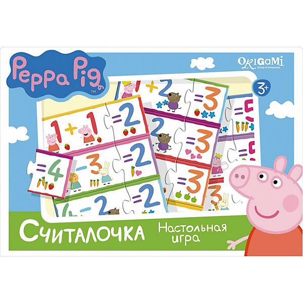 Игра Считалочка, Свинка ПеппаПособия для обучения счёту<br>Игра Считалочка, Свинка Пеппа – это интересная настольная игра, которая увлечет вашего малыша и поможет ему научиться решать простые примеры.<br>Вместе с Пеппой и ее друзьями Ваш ребенок научится решать примеры на сложение и вычитание в пределах пяти и весело проведет время. В набор входят парные карточки - пример и ответ: 1+1 и 2, 5-2 и 3. Все карточки снабжены пазловыми замками, поэтому ребенок не сможет совершить ошибку в решении и совместить неподходящие друг другу детали. Эта игра поможет улучшить свои знания тем, кто уже умеет считать, и научит тех, кто только начинает это делать.<br><br>Дополнительная информация:<br><br>- В наборе: 32 карточки с пазловыми замками<br>- Материал: картон<br>- Размер коробки: 22x20x5 мм.<br>- Вес: 175 гр.<br><br>Игру Считалочка, Свинка Пеппа можно купить в нашем интернет-магазине.<br>Ширина мм: 220; Глубина мм: 200; Высота мм: 50; Вес г: 175; Возраст от месяцев: 36; Возраст до месяцев: 96; Пол: Унисекс; Возраст: Детский; SKU: 4335017;